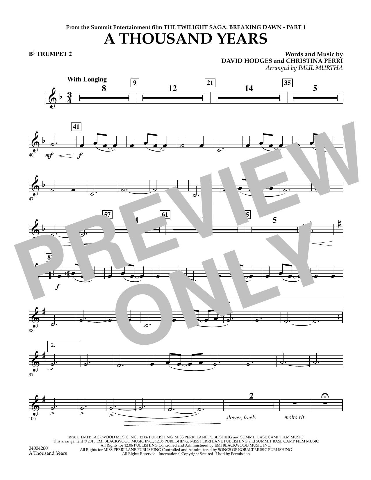 A Thousand Years (from The Twilight Saga: Breaking Dawn, Part 1) - Bb Trumpet 2 (Concert Band)