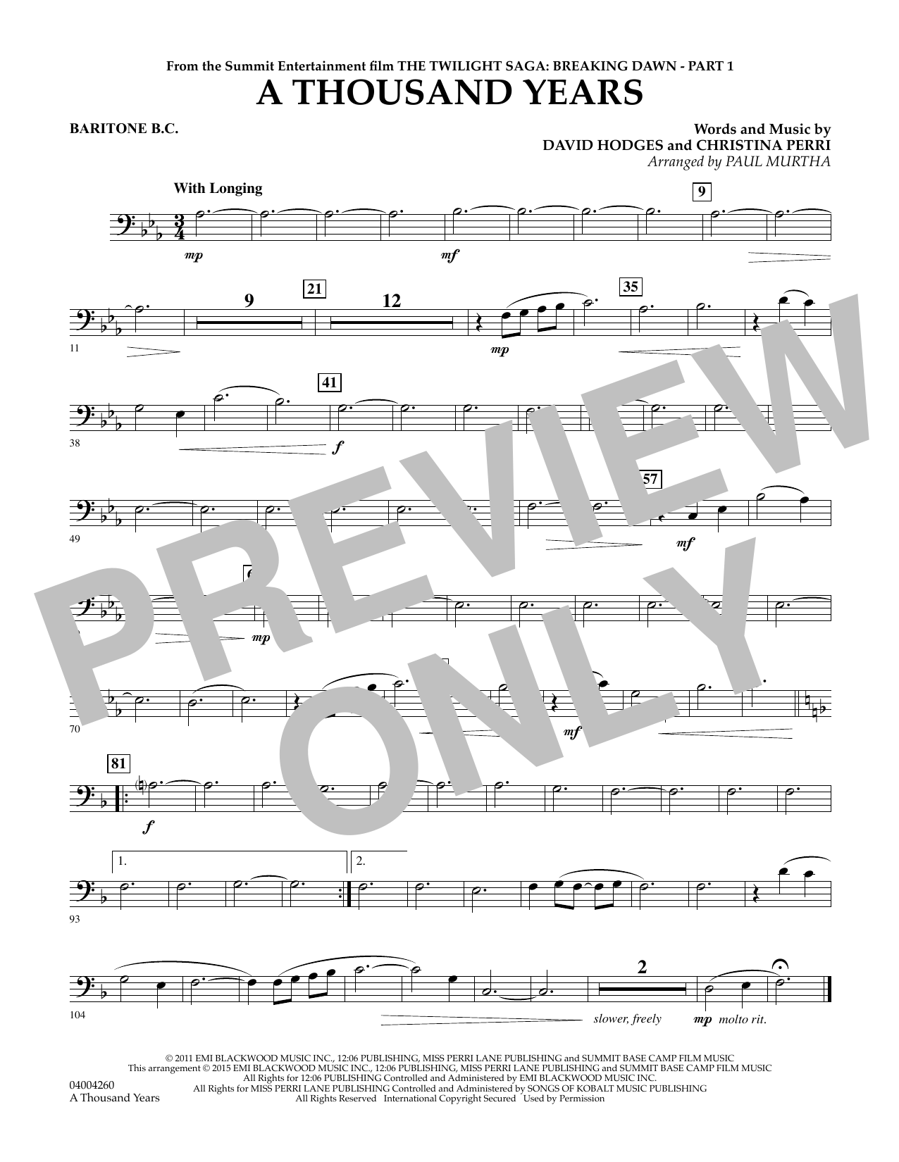 A Thousand Years (from The Twilight Saga: Breaking Dawn, Part 1) - Baritone B.C. (Concert Band)