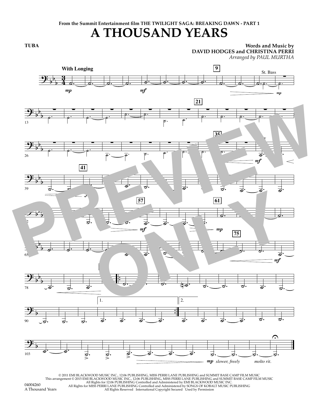 A Thousand Years (from The Twilight Saga: Breaking Dawn, Part 1) - Tuba (Concert Band)
