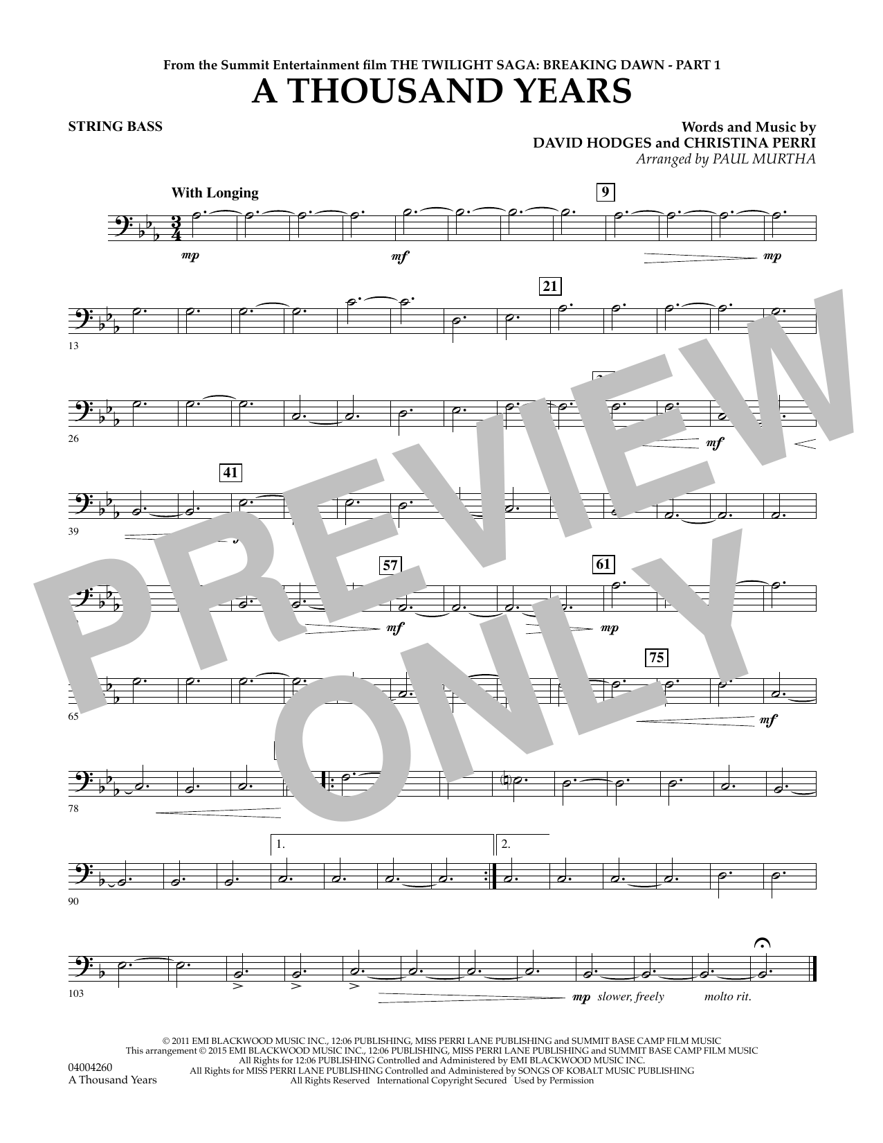 A Thousand Years (from The Twilight Saga: Breaking Dawn, Part 1) - Bass (Concert Band)