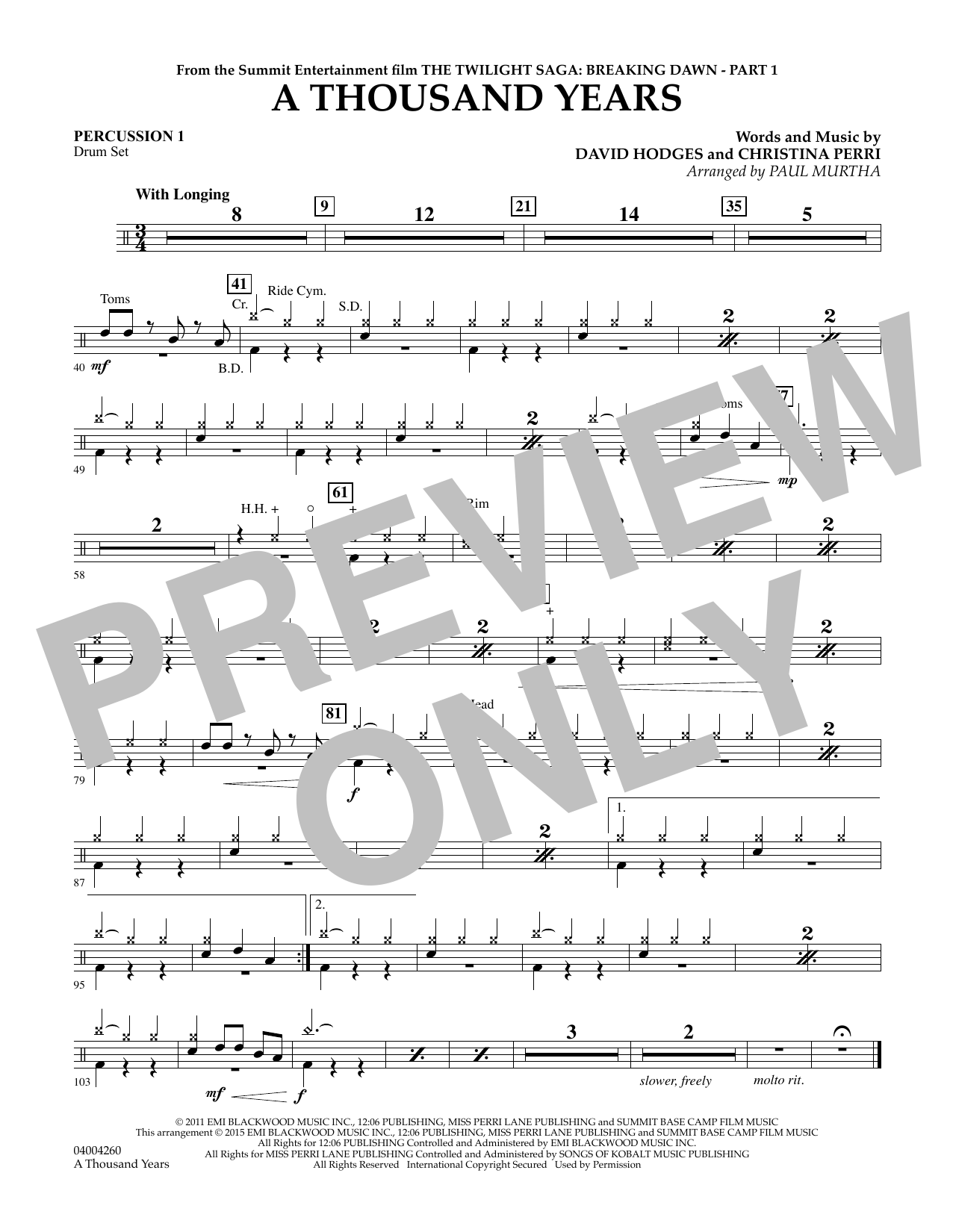 A Thousand Years (from The Twilight Saga: Breaking Dawn, Part 1) - Percussion 1 (Concert Band)