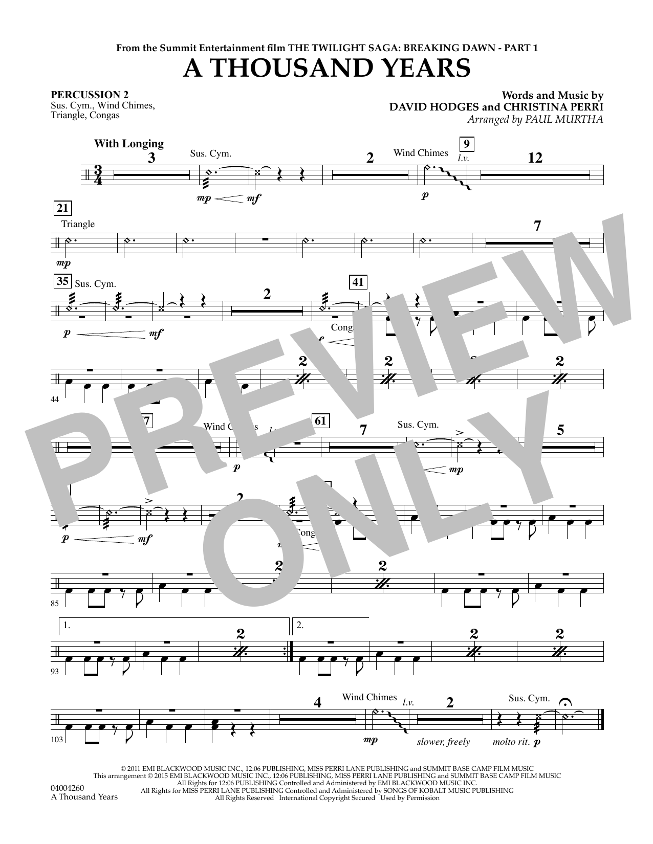 A Thousand Years (from The Twilight Saga: Breaking Dawn, Part 1) - Percussion 2 (Concert Band)