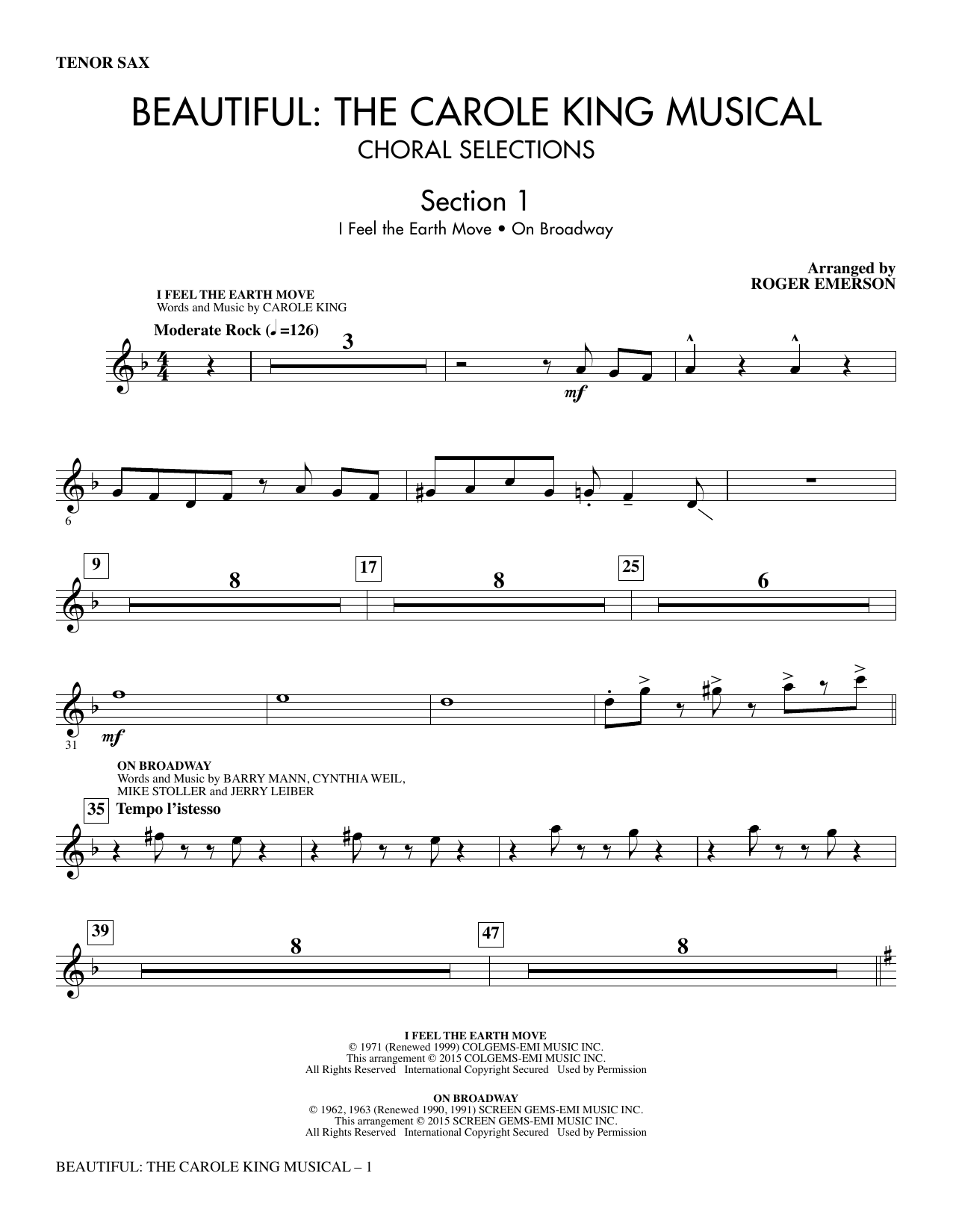 Beautiful: The Carole King Musical (Choral Selections) (complete set of parts) sheet music for orchestra/band by Roger Emerson and Carole King. Score Image Preview.