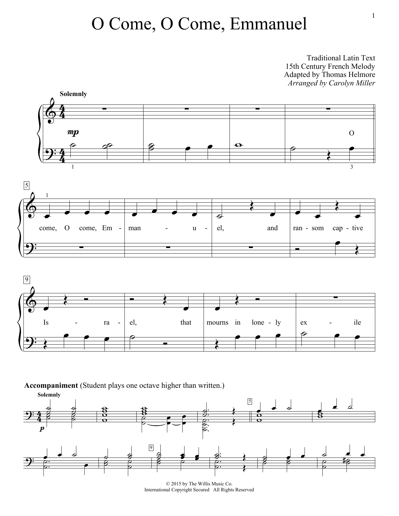 O Come O Come Emmanuel Sheet Music By Christmas Carol Educational