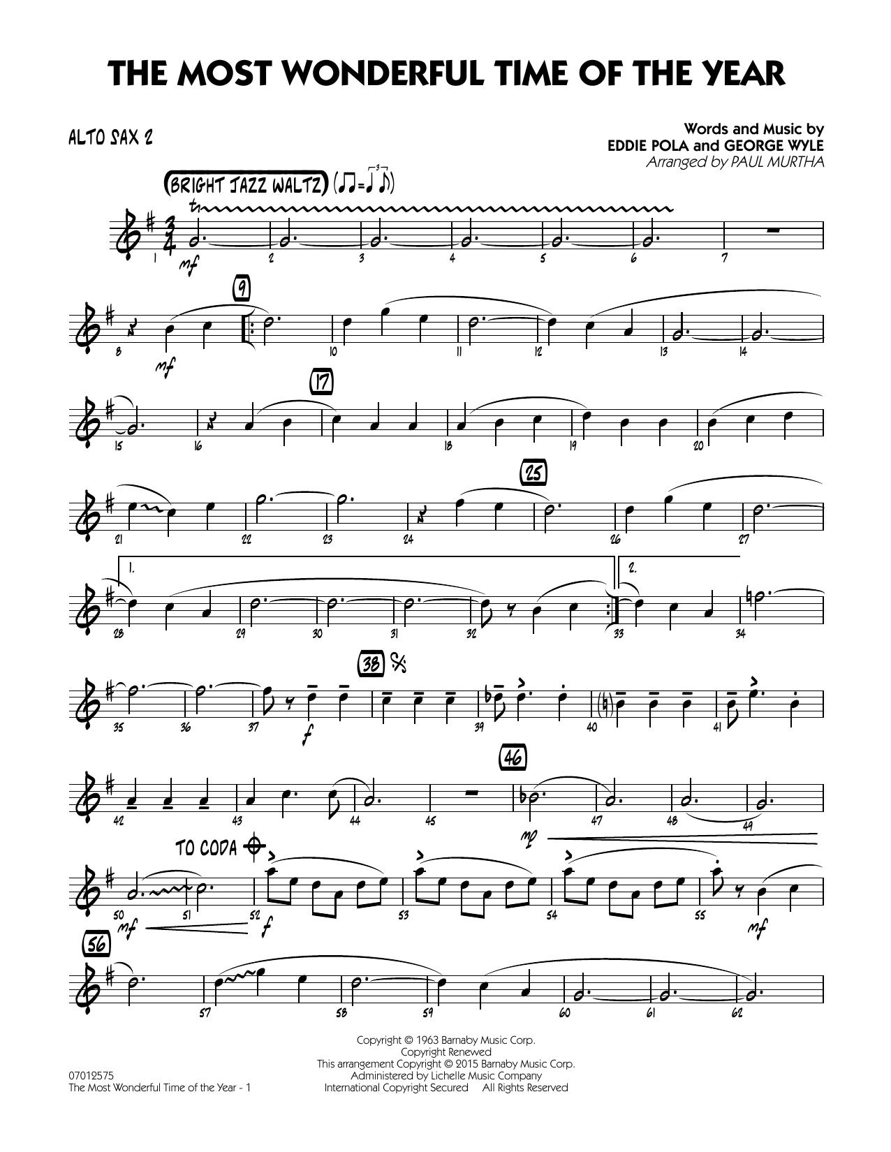 The Most Wonderful Time of the Year - Alto Sax 2 (Jazz Ensemble)