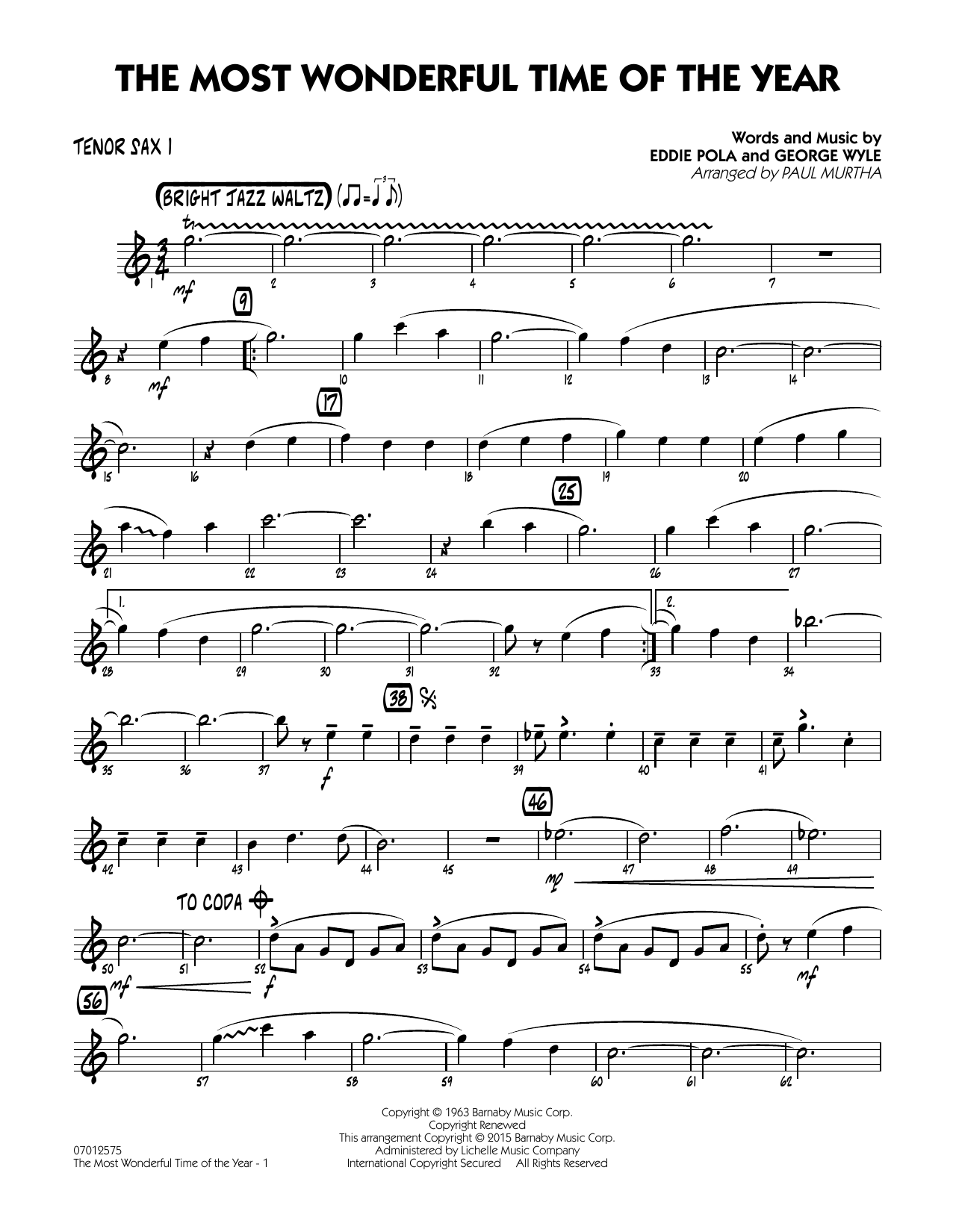 The Most Wonderful Time of the Year - Tenor Sax 1 (Jazz Ensemble)