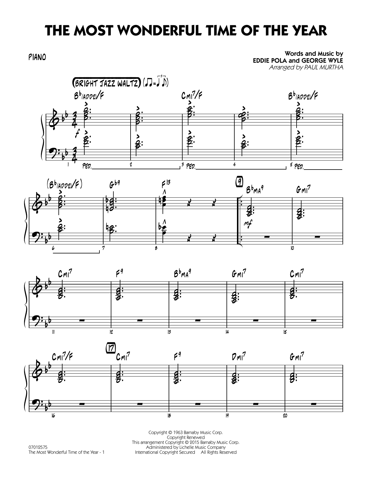 The Most Wonderful Time of the Year - Piano (Jazz Ensemble)