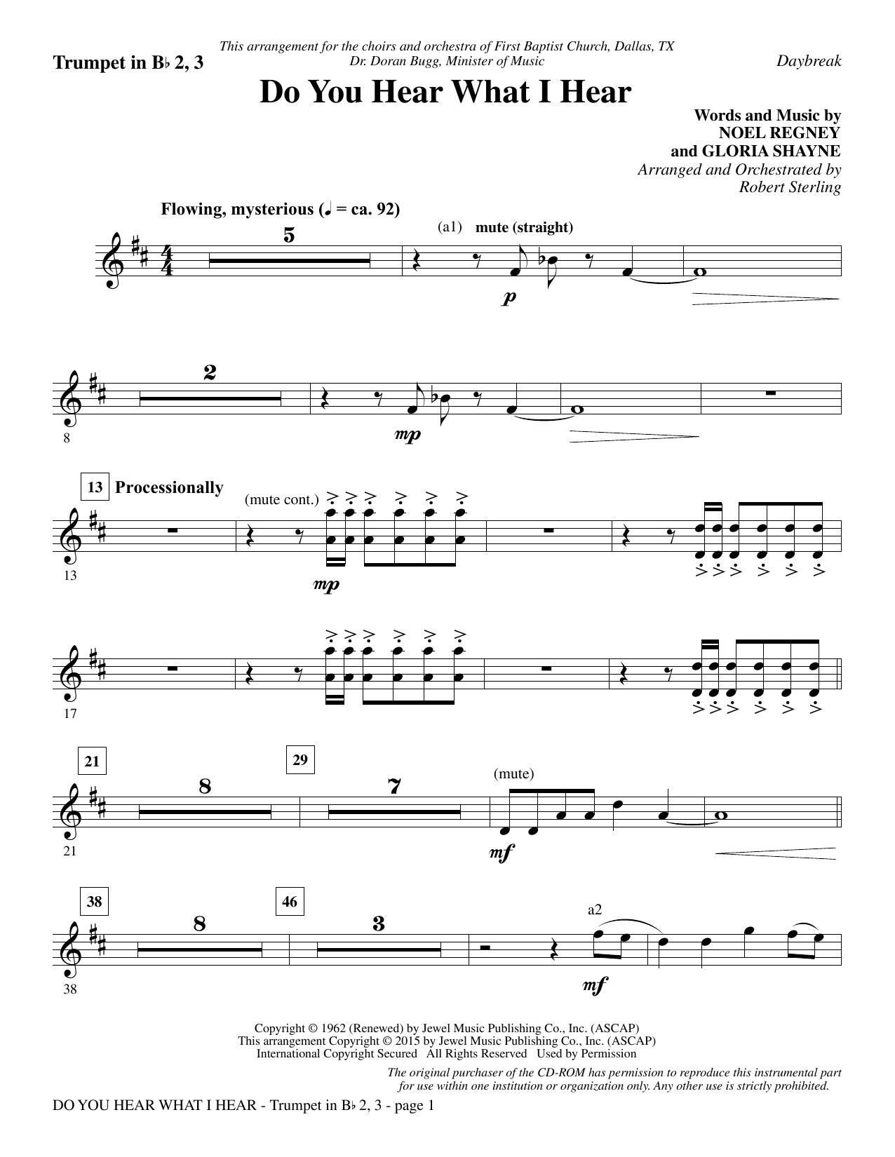 Do You Hear What I Hear - Bb Trumpet 2,3 Sheet Music