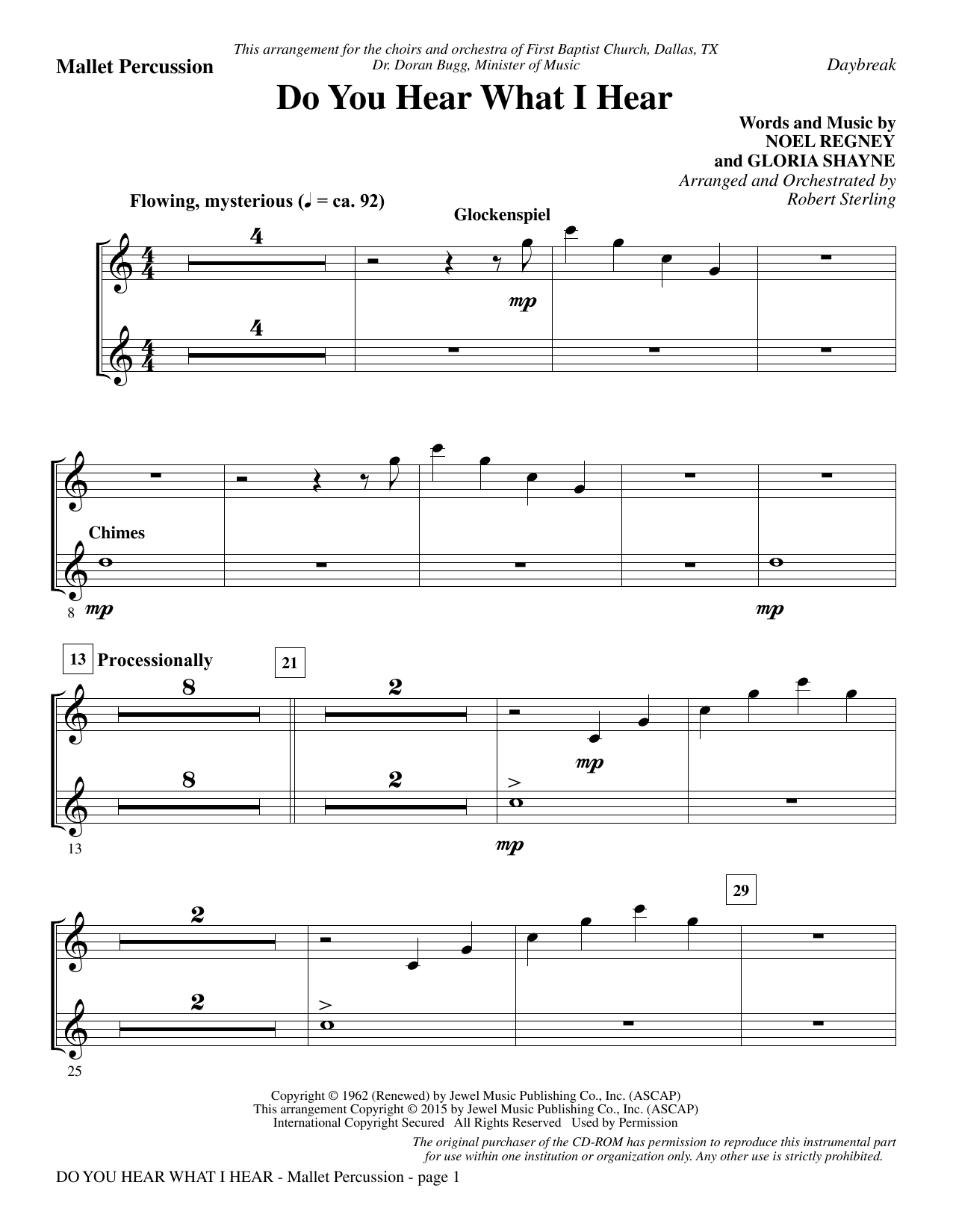 Do You Hear What I Hear - Mallet Percussion Sheet Music