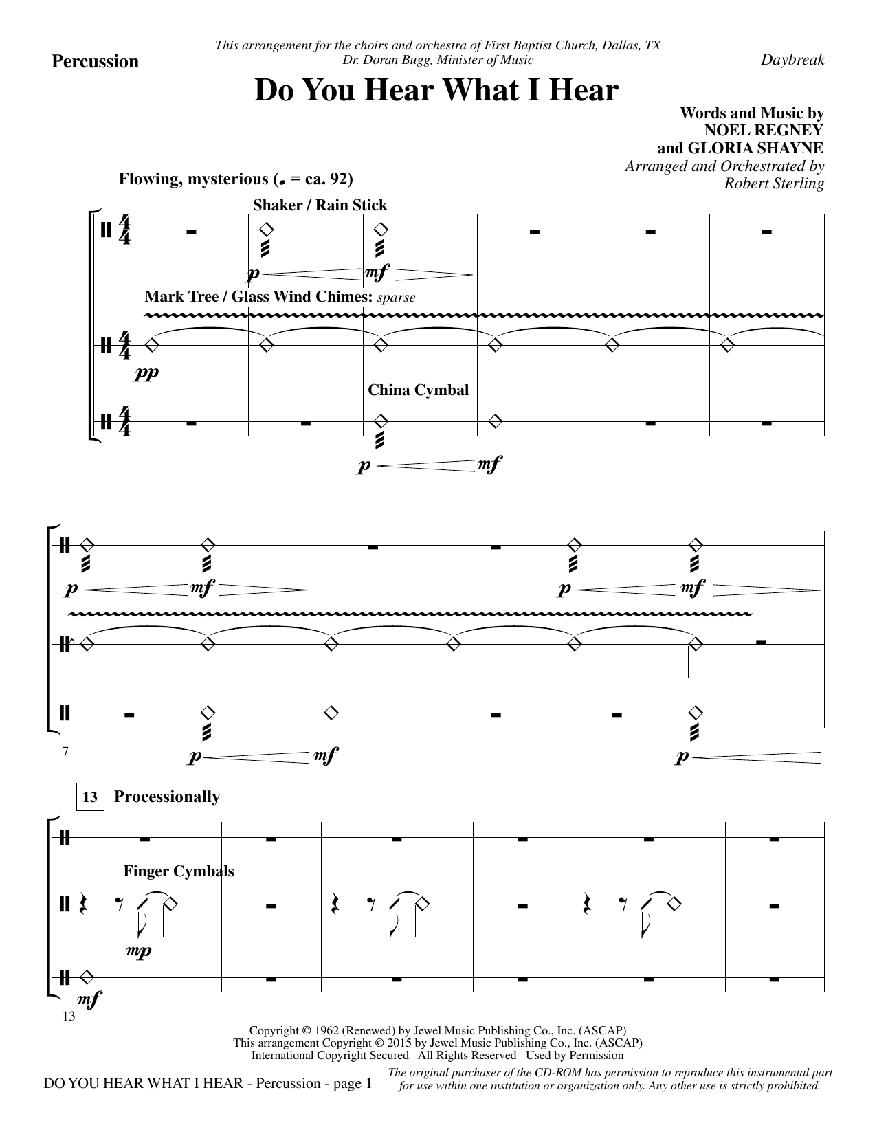 Do You Hear What I Hear - Percussion Sheet Music