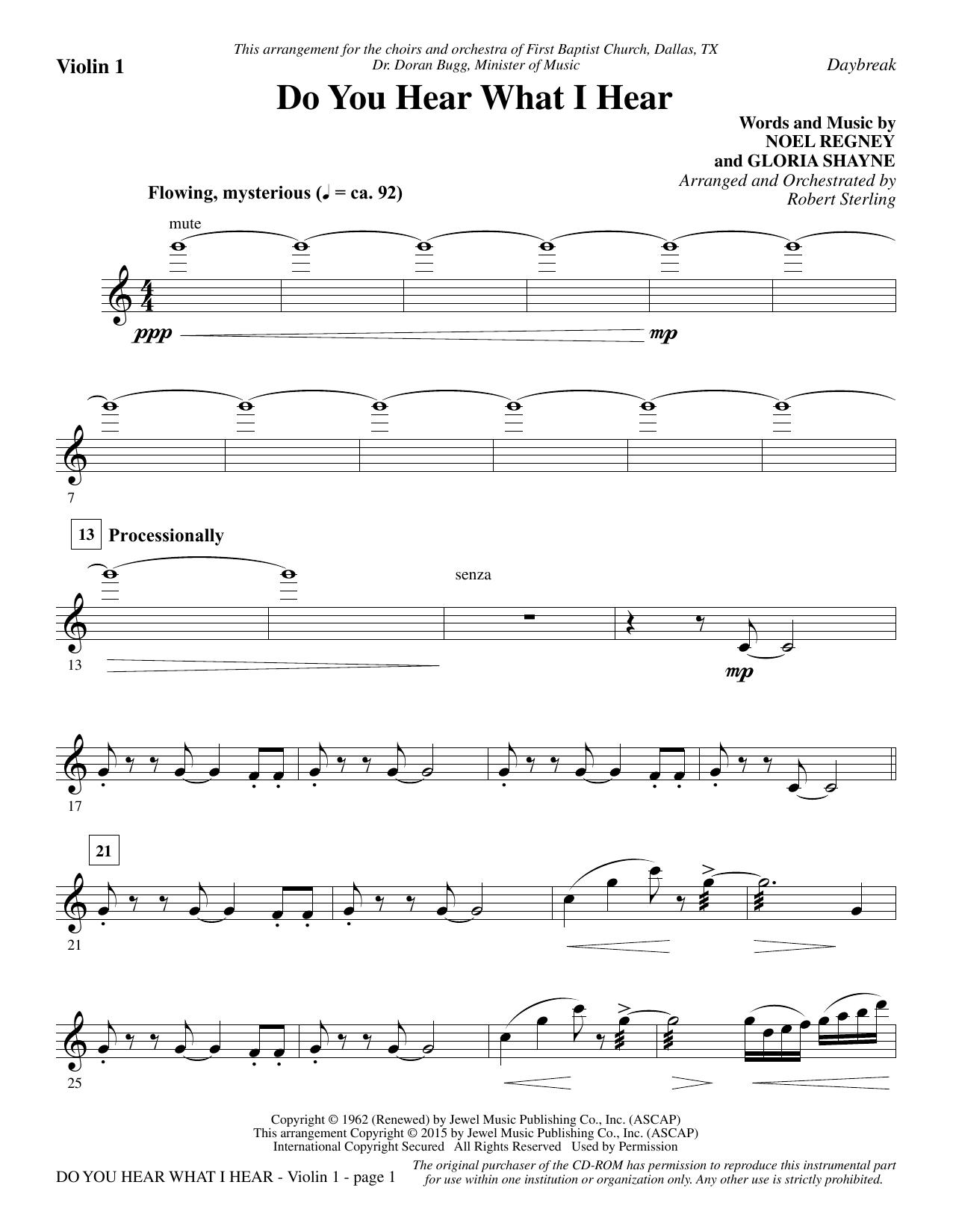 Do You Hear What I Hear - Violin 1 Sheet Music