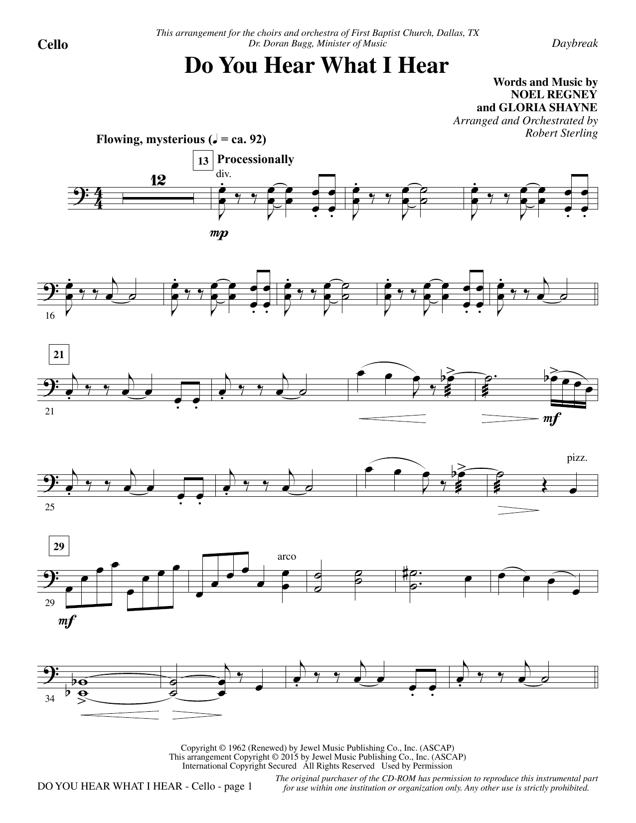 Do You Hear What I Hear - Cello Sheet Music