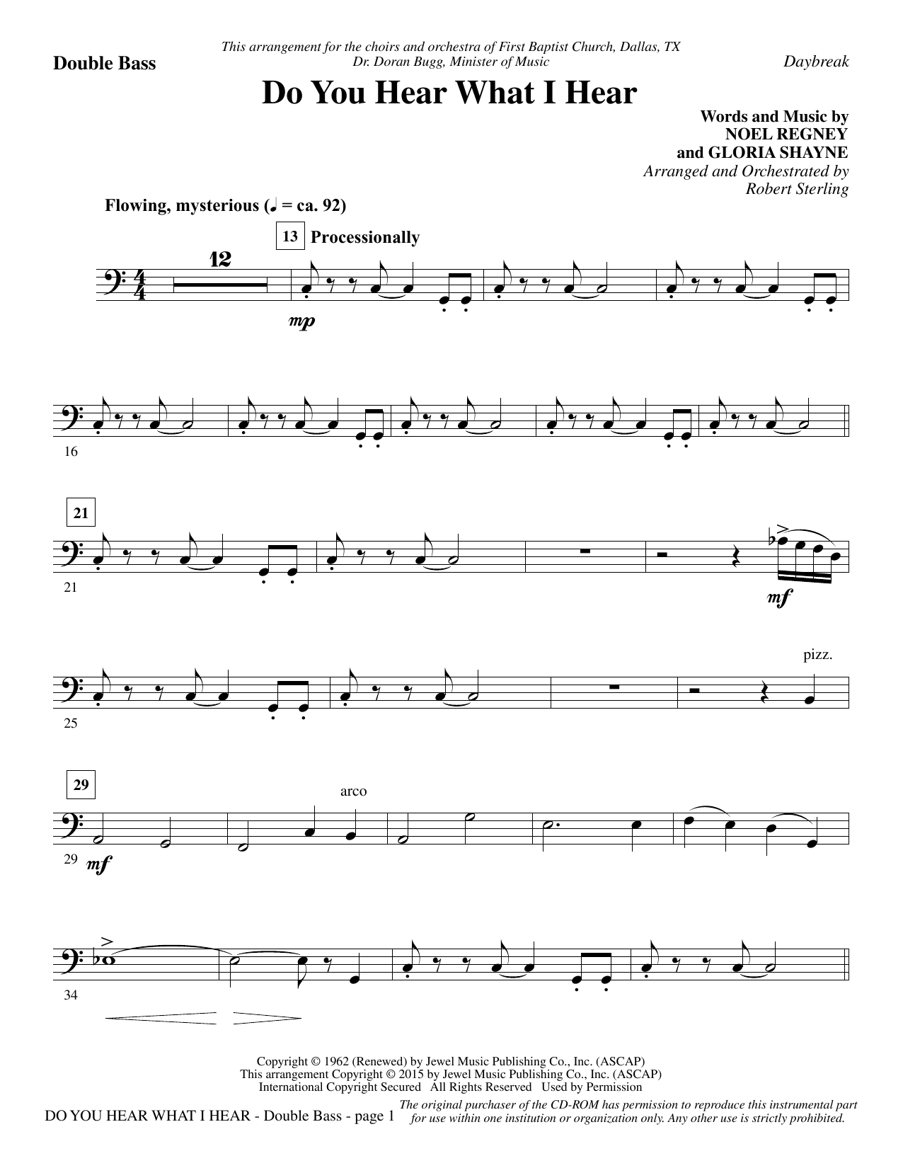 Do You Hear What I Hear - Double Bass Sheet Music