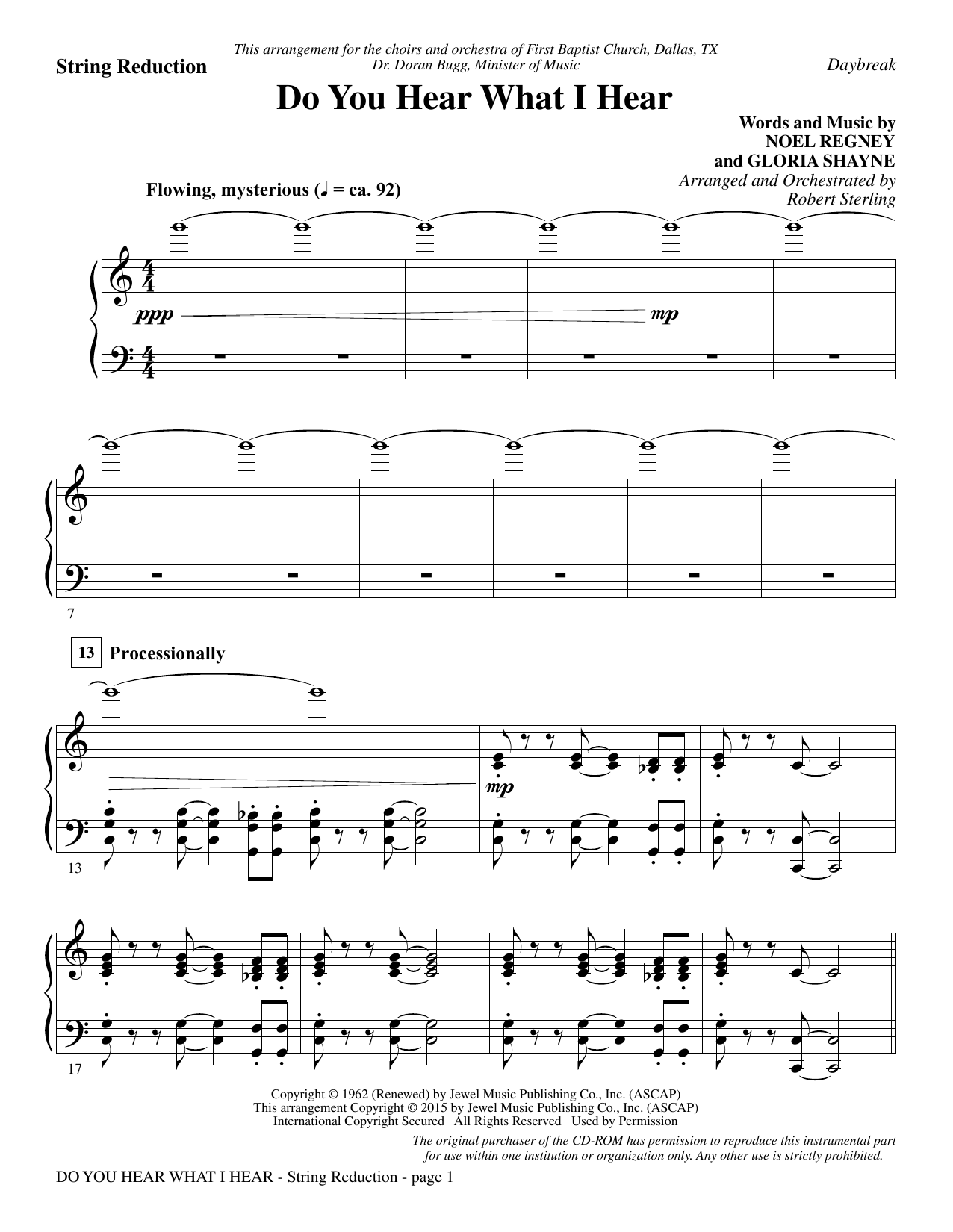 Do You Hear What I Hear - Keyboard String Reduction Sheet Music