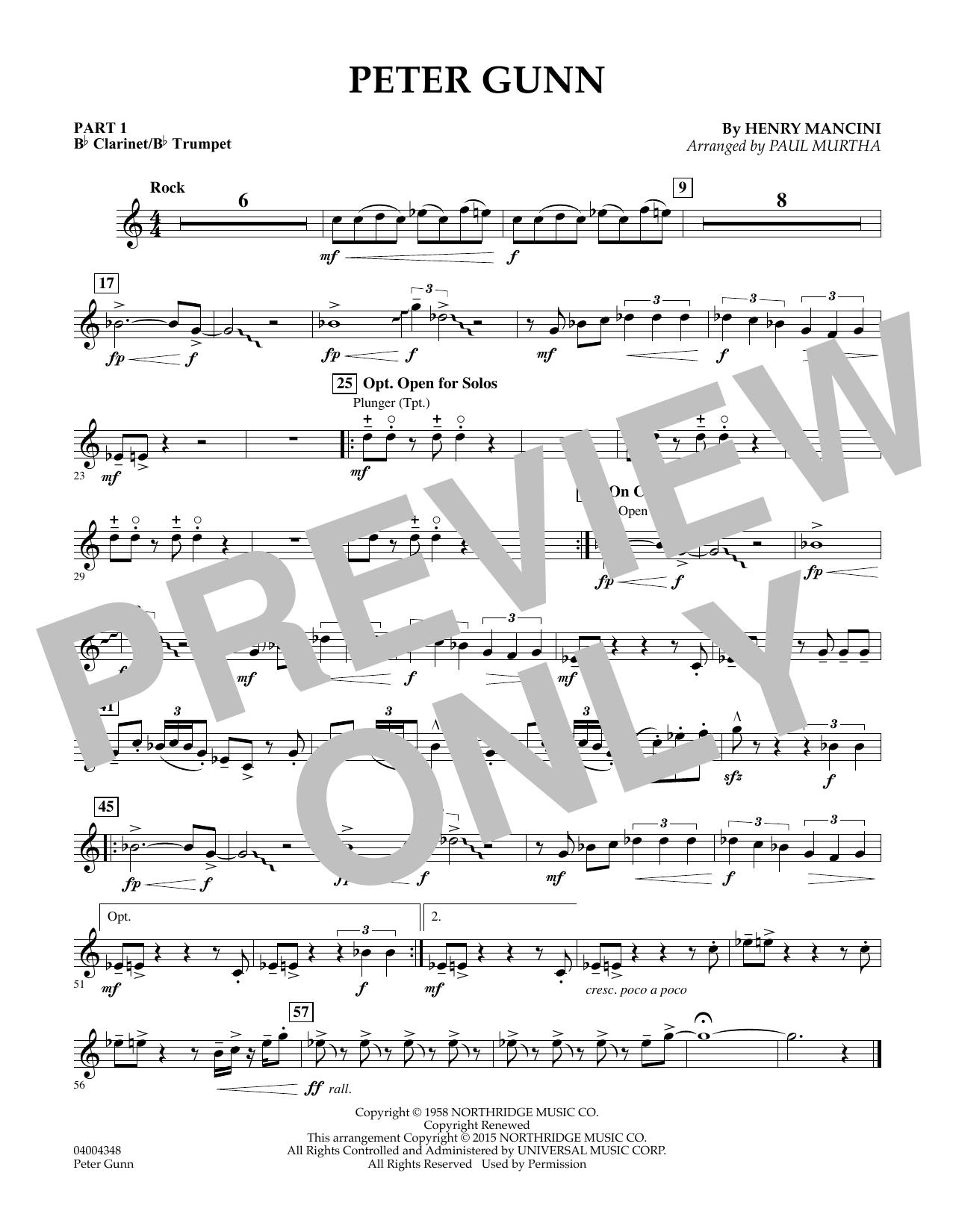 Peter Gunn - Pt.1 - Bb Clarinet/Bb Trumpet (Concert Band: Flex-Band)