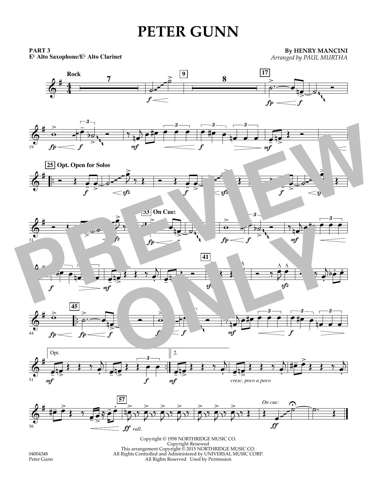 Peter Gunn - Pt.3 - Eb Alto Sax/Alto Clar. (Concert Band: Flex-Band)