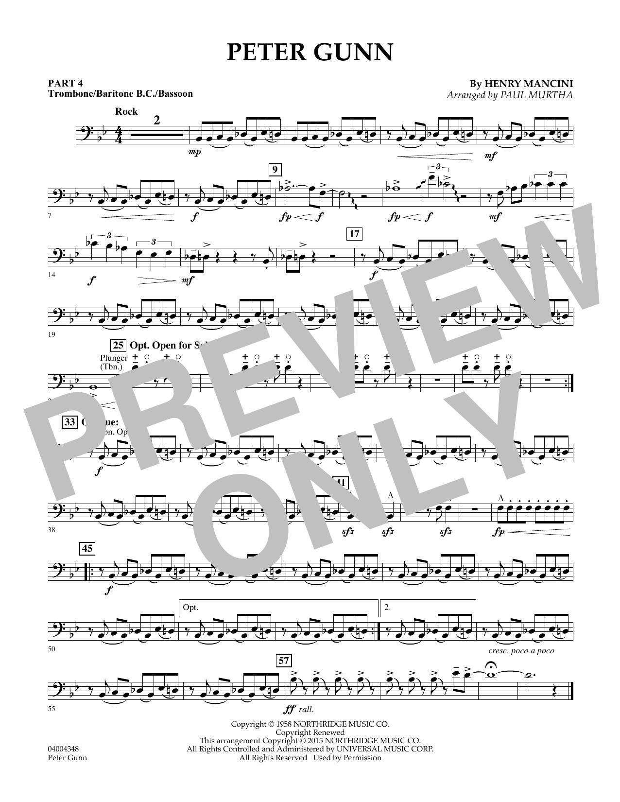 Peter Gunn - Pt.4 - Trombone/Bar. B.C./Bsn. (Concert Band: Flex-Band)