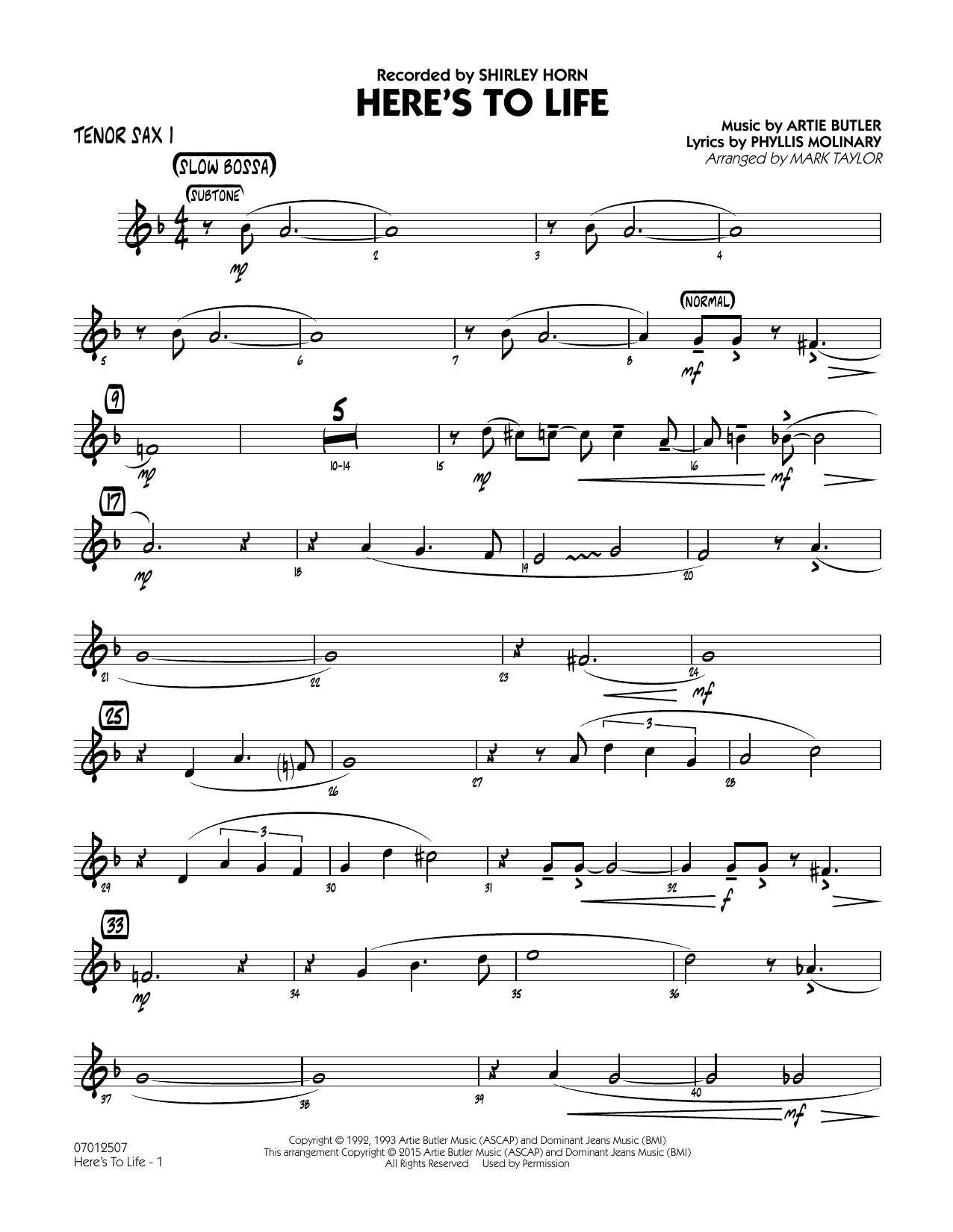 Here's To Life (Key: C minor) - Tenor Sax 1 (Jazz Ensemble)