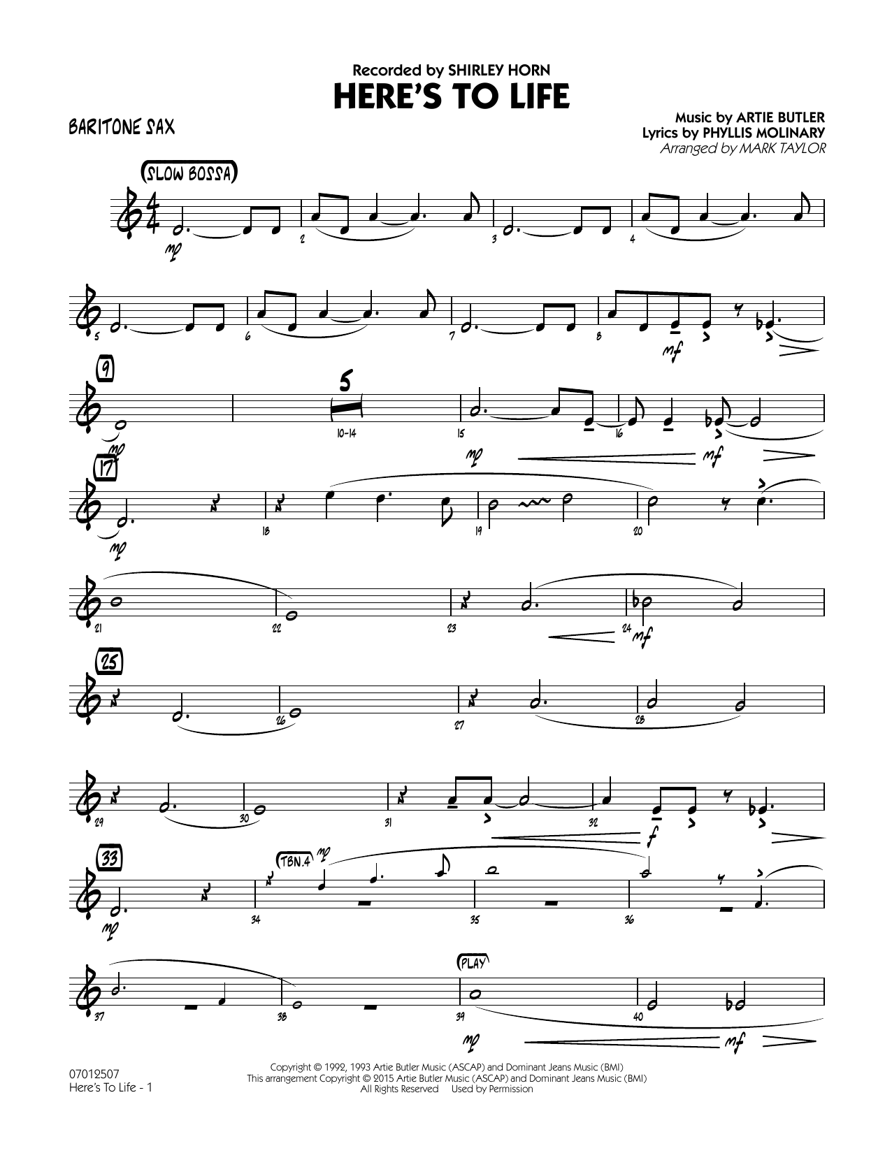page one of Here's To Life (Key: C minor) - Baritone SaxASALTTEXT