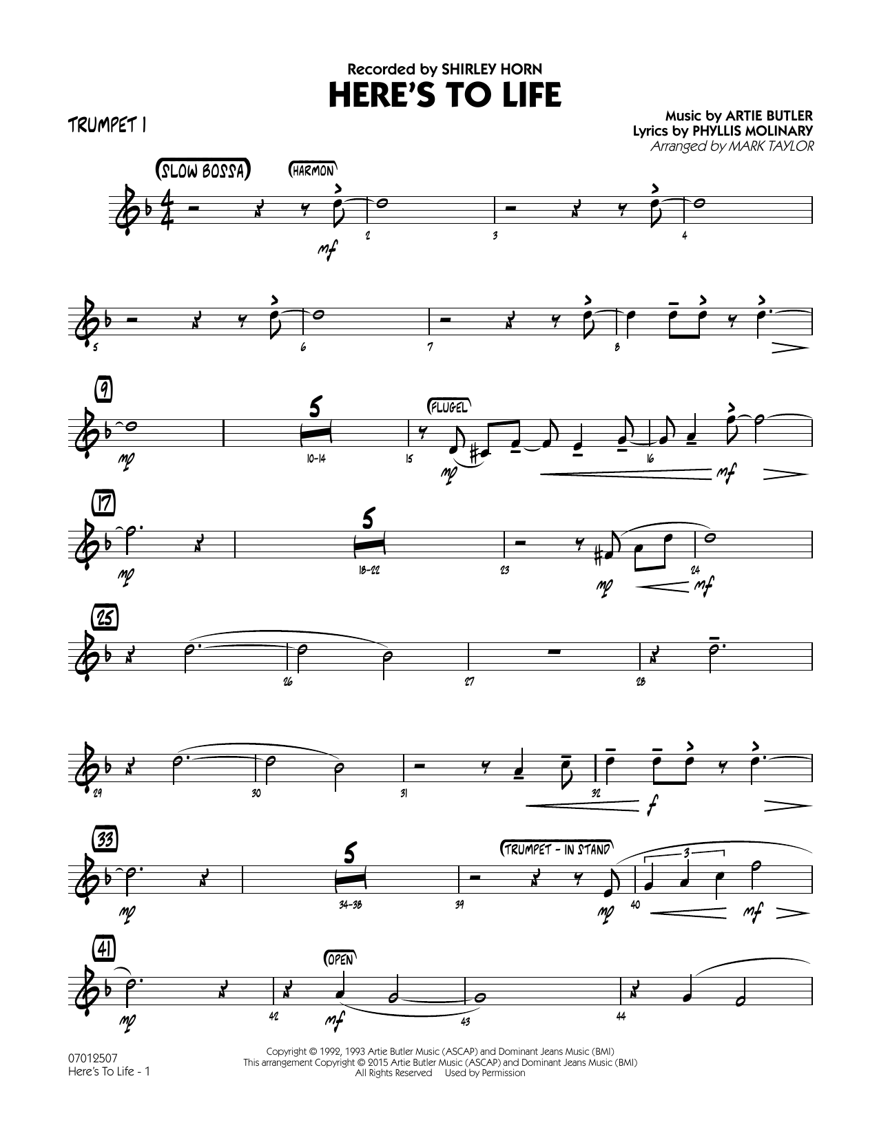 Here's To Life (Key: C minor) - Trumpet 1 (Jazz Ensemble)