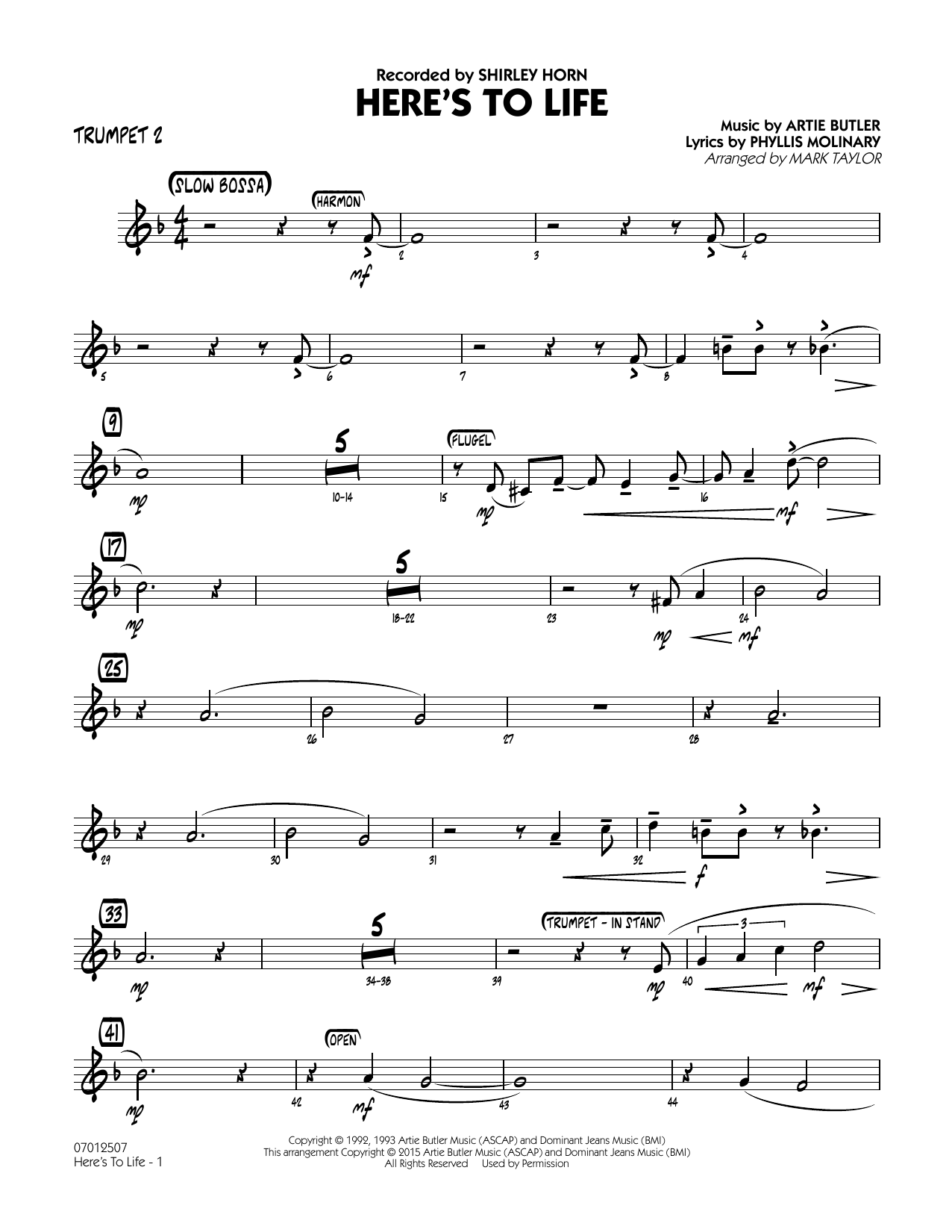 page one of Here's To Life (Key: C minor) - Trumpet 2ASALTTEXT