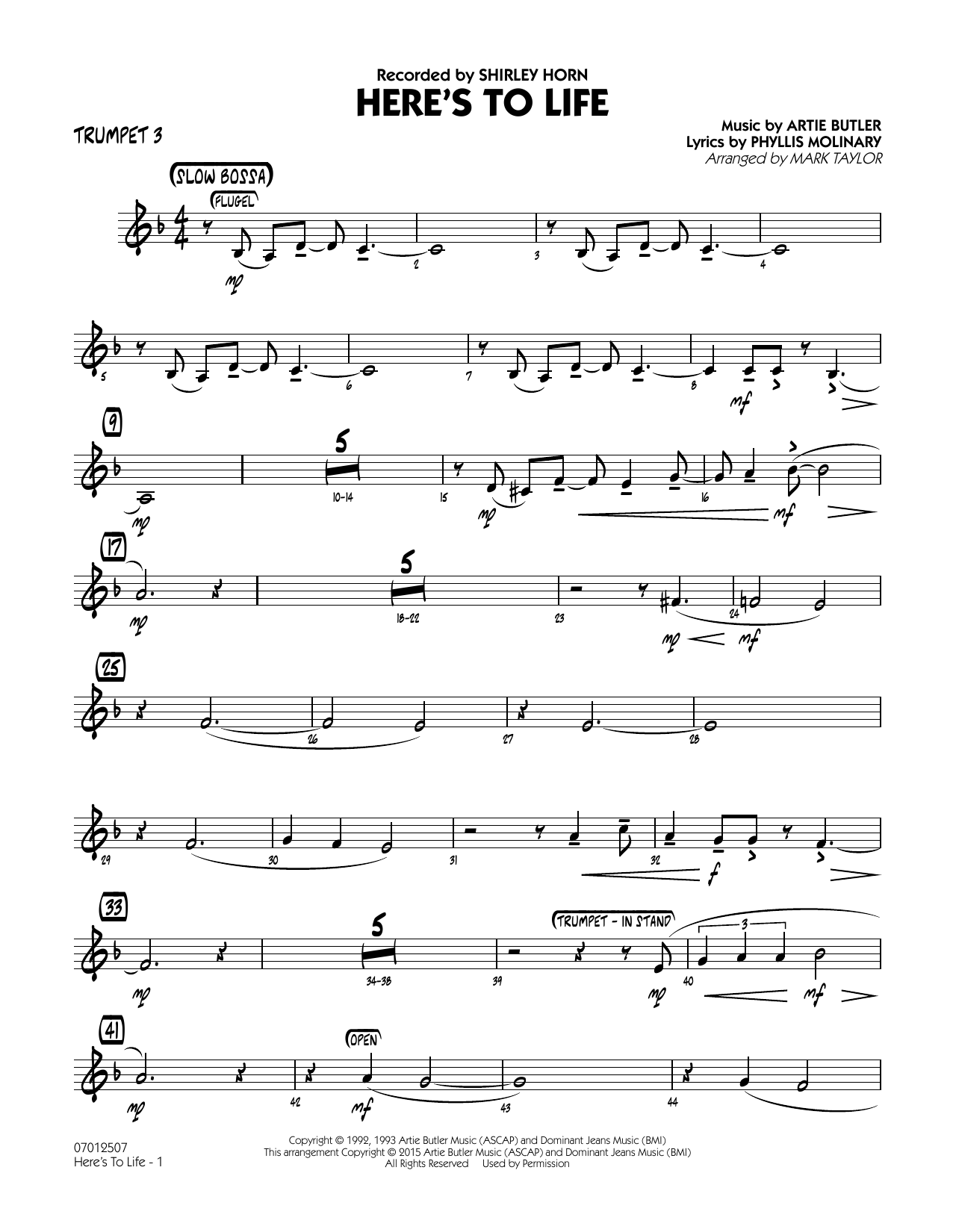 page one of Here's To Life (Key: C minor) - Trumpet 3ASALTTEXT