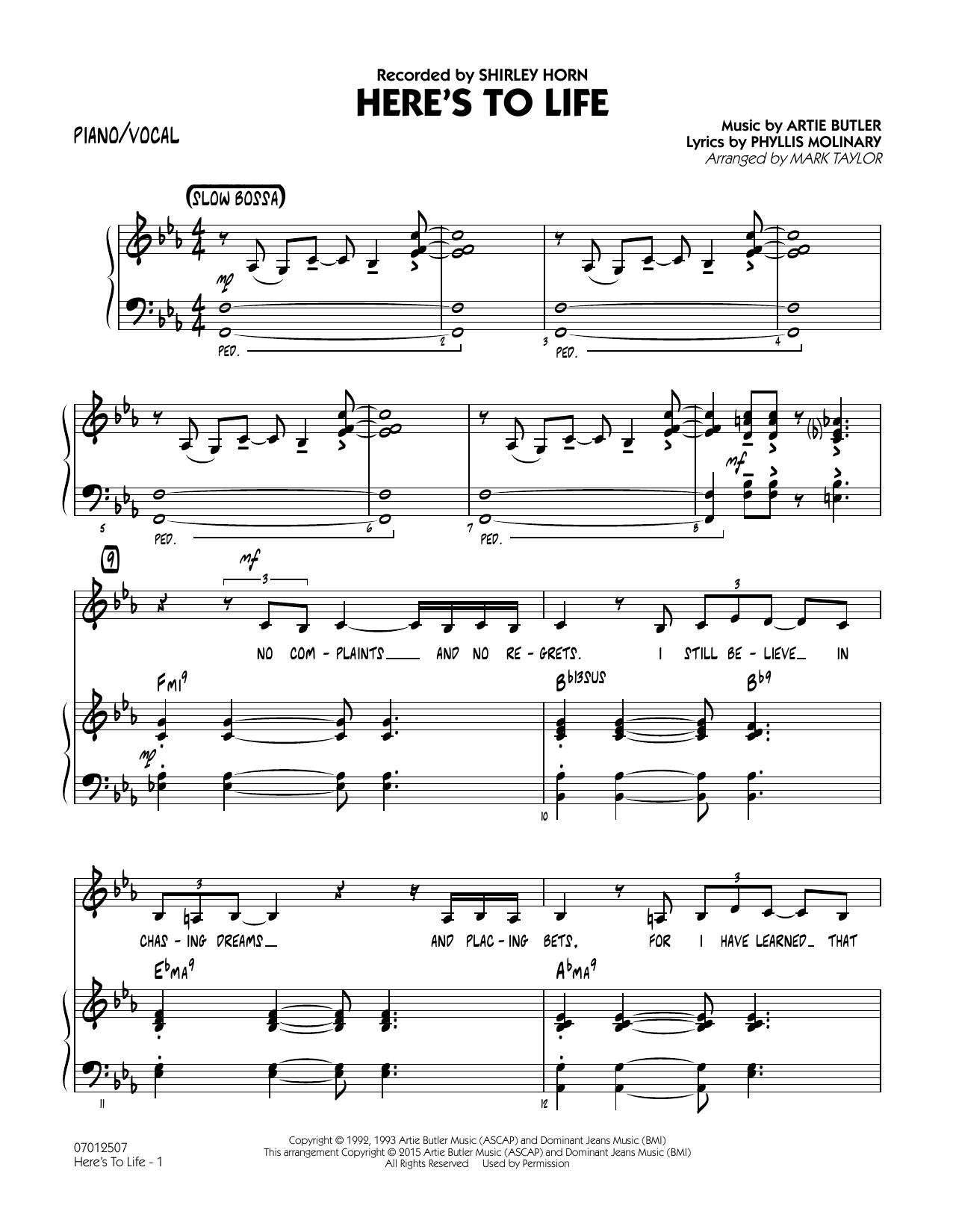 Here's To Life (Key: C minor) - Piano/Vocal (Jazz Ensemble)