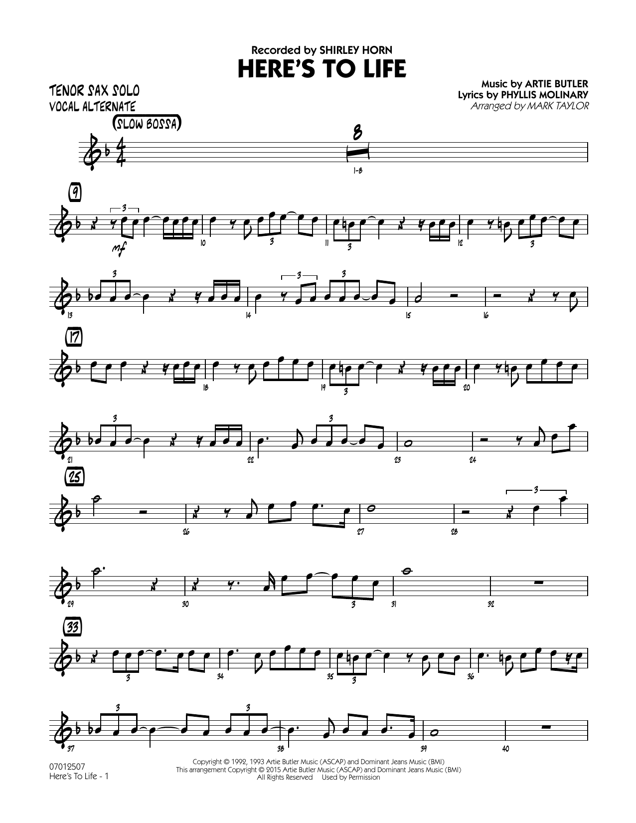 Here's To Life (Key: C minor) - Tenor Sax Solo (Vocal Alt) (Jazz Ensemble)