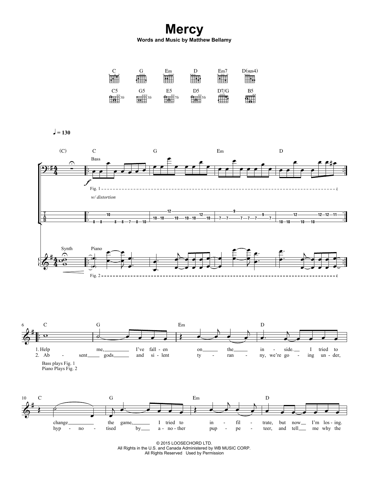 Mercy Guitar Tab By Muse Guitar Tab 160861