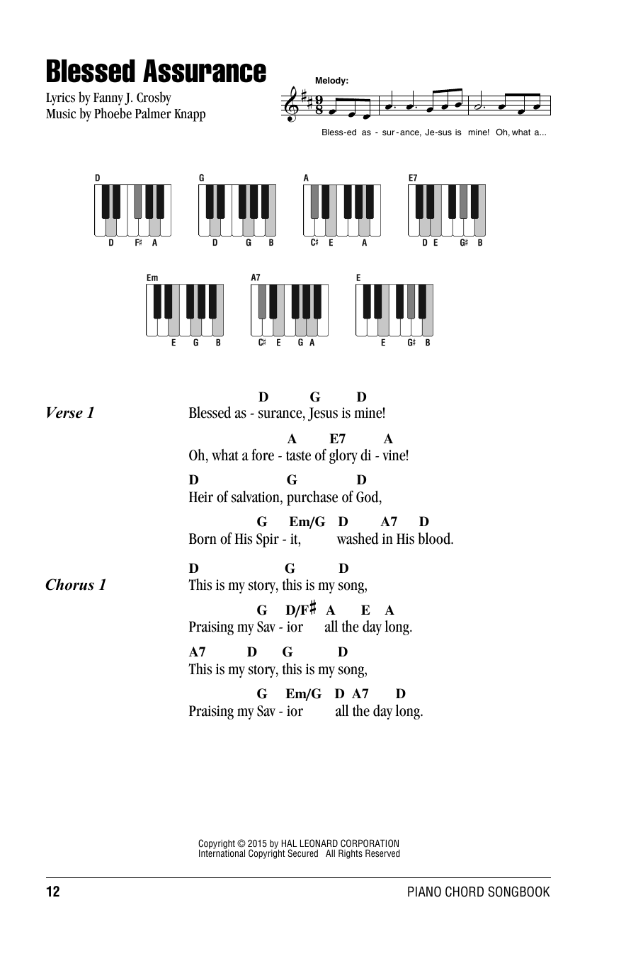 Blessed Assurance Sheet Music Fanny J Crosby Lyrics Piano Chords