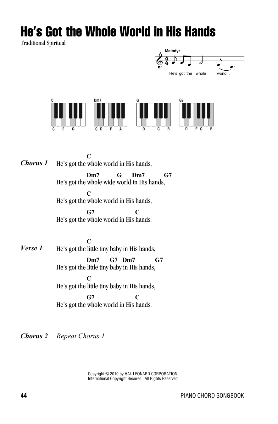 He's Got The Whole World In His Hands Sheet Music