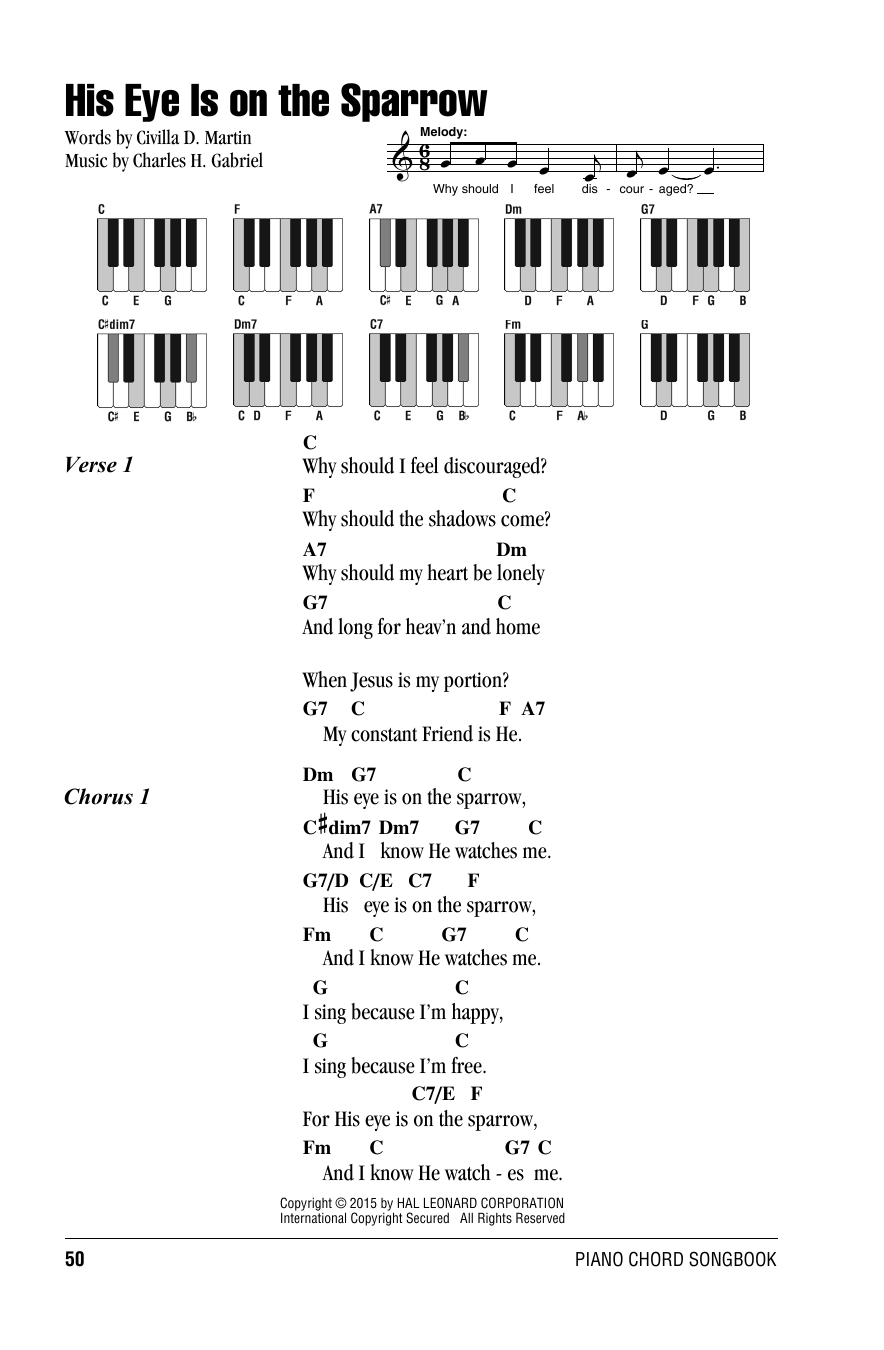 His eye is on the sparrow sheet music by charles h gabriel charles h gabriel his eye is on the sparrow lyrics piano chords hexwebz Gallery