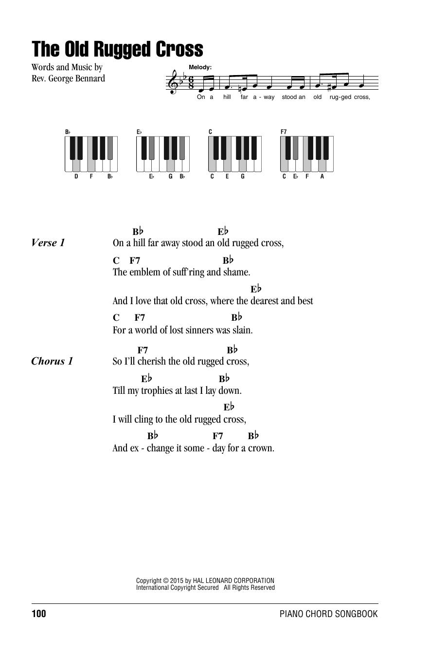 The Old Rugged Cross Rev George Bennard Lyrics Piano Chords
