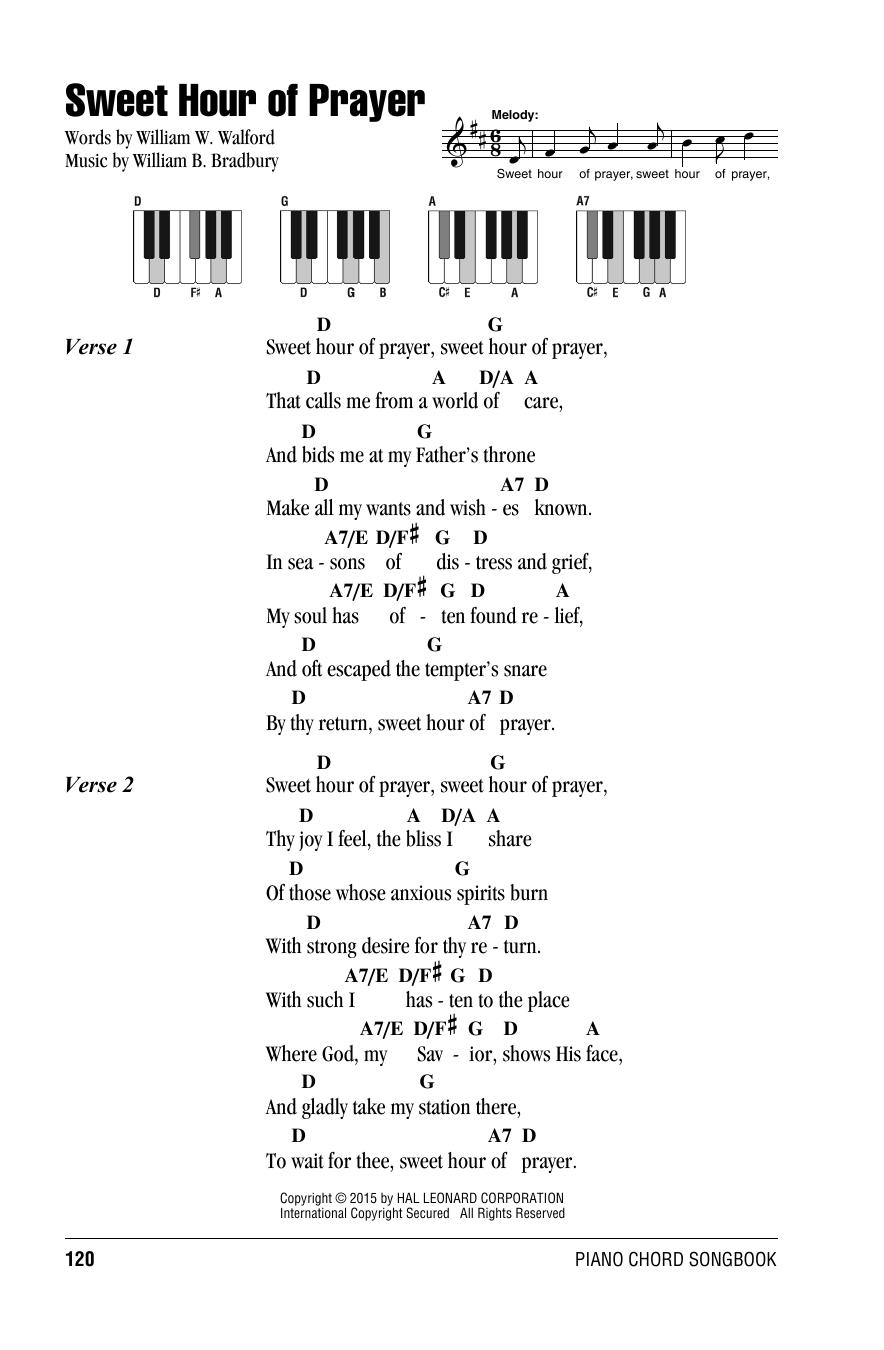 Sweet Hour Of Prayer William B Bradbury Lyrics Piano Chords