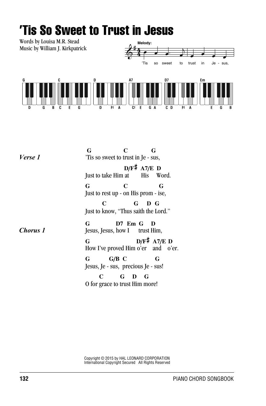 'Tis So Sweet To Trust In Jesus (Lyrics & Piano Chords)
