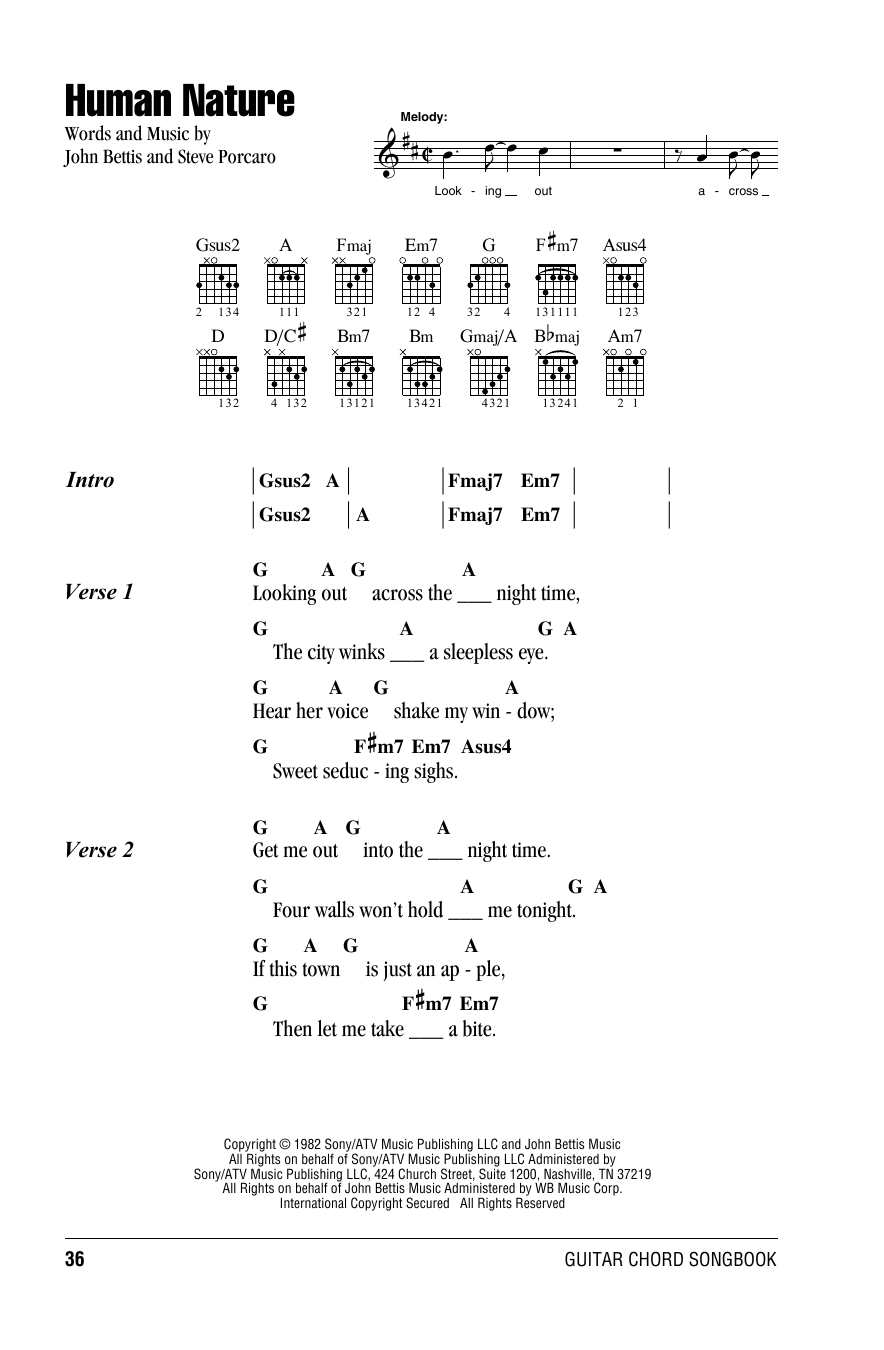 Human Nature Michael Jackson Lyrics And Chords