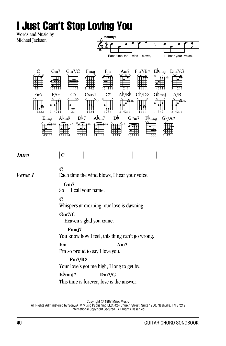 I Just Cant Stop Loving You By Michael Jackson Guitar Chords