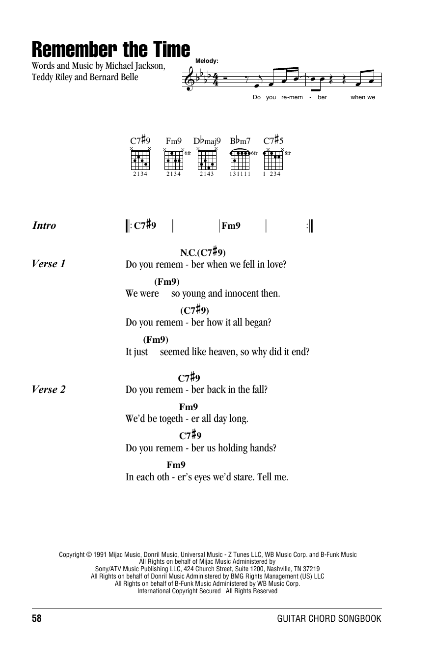 Remember the time sheet music by michael jackson lyrics chords michael jackson remember the time lyrics chords hexwebz Choice Image
