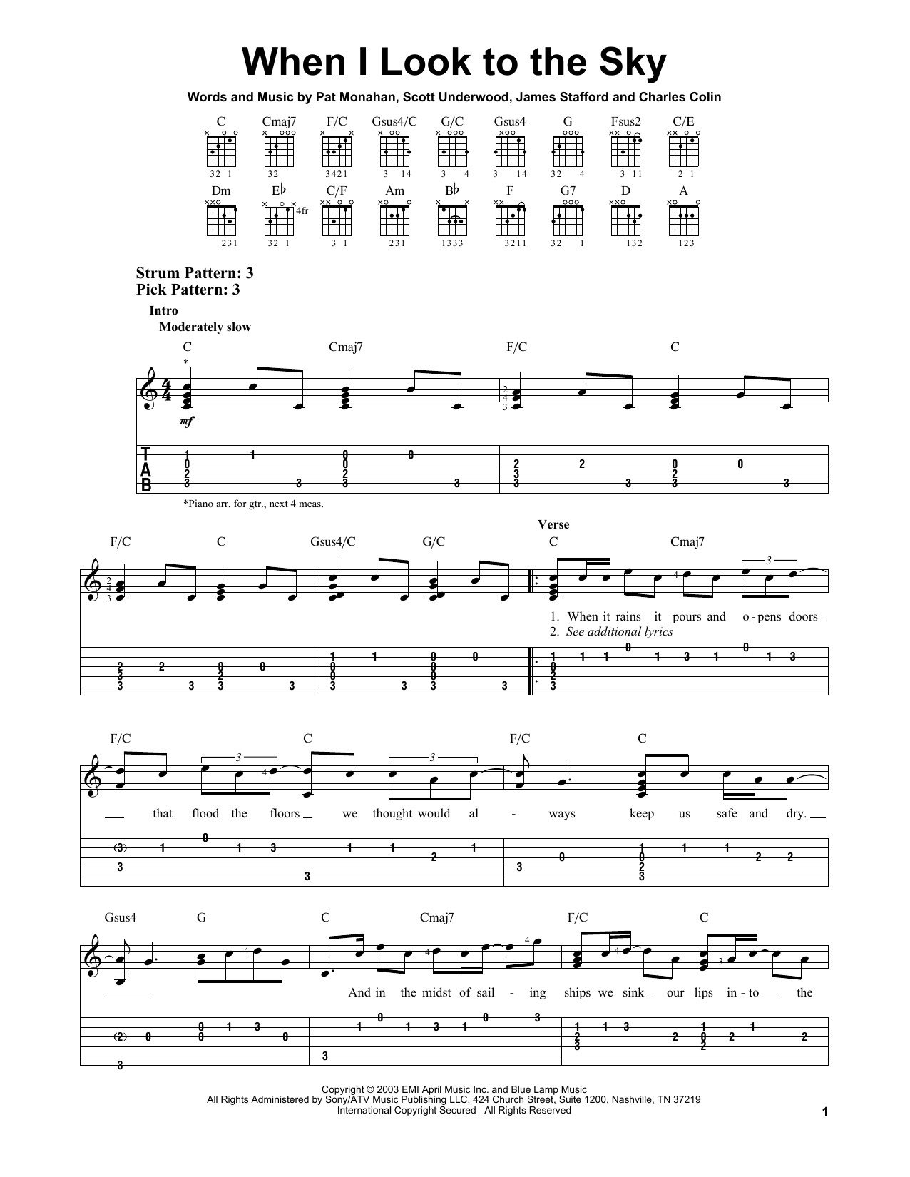 When I Look To The Sky (Easy Guitar Tab)