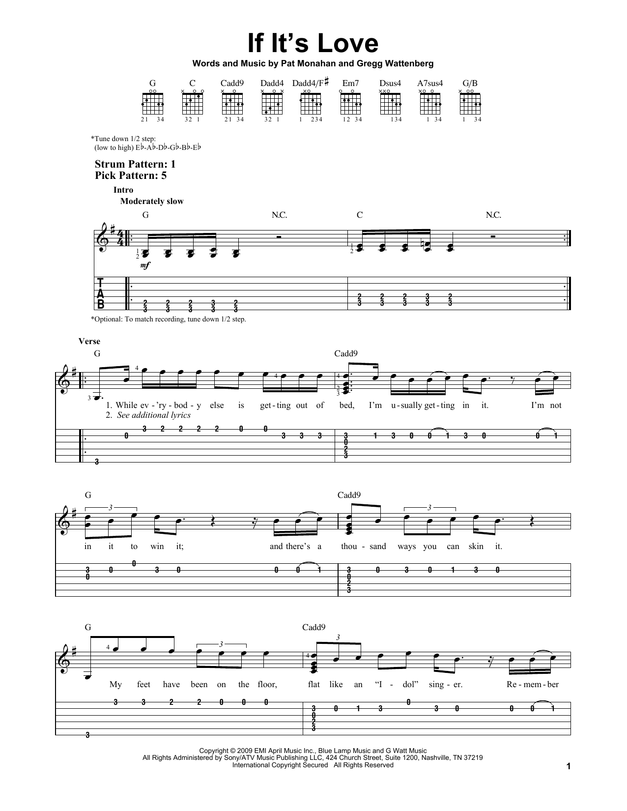 Tablature guitare If It's Love de Train - Tablature guitare facile