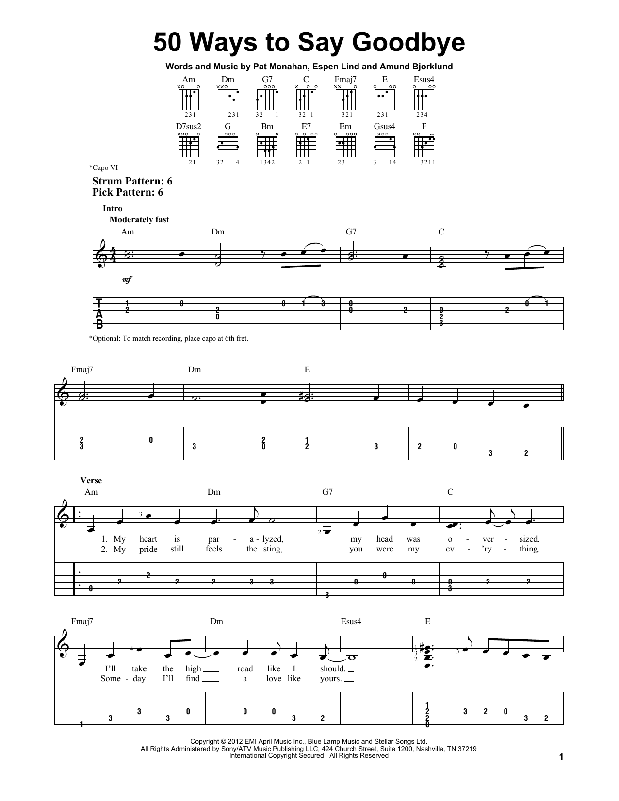 Tablature guitare 50 Ways To Say Goodbye de Train - Tablature guitare facile