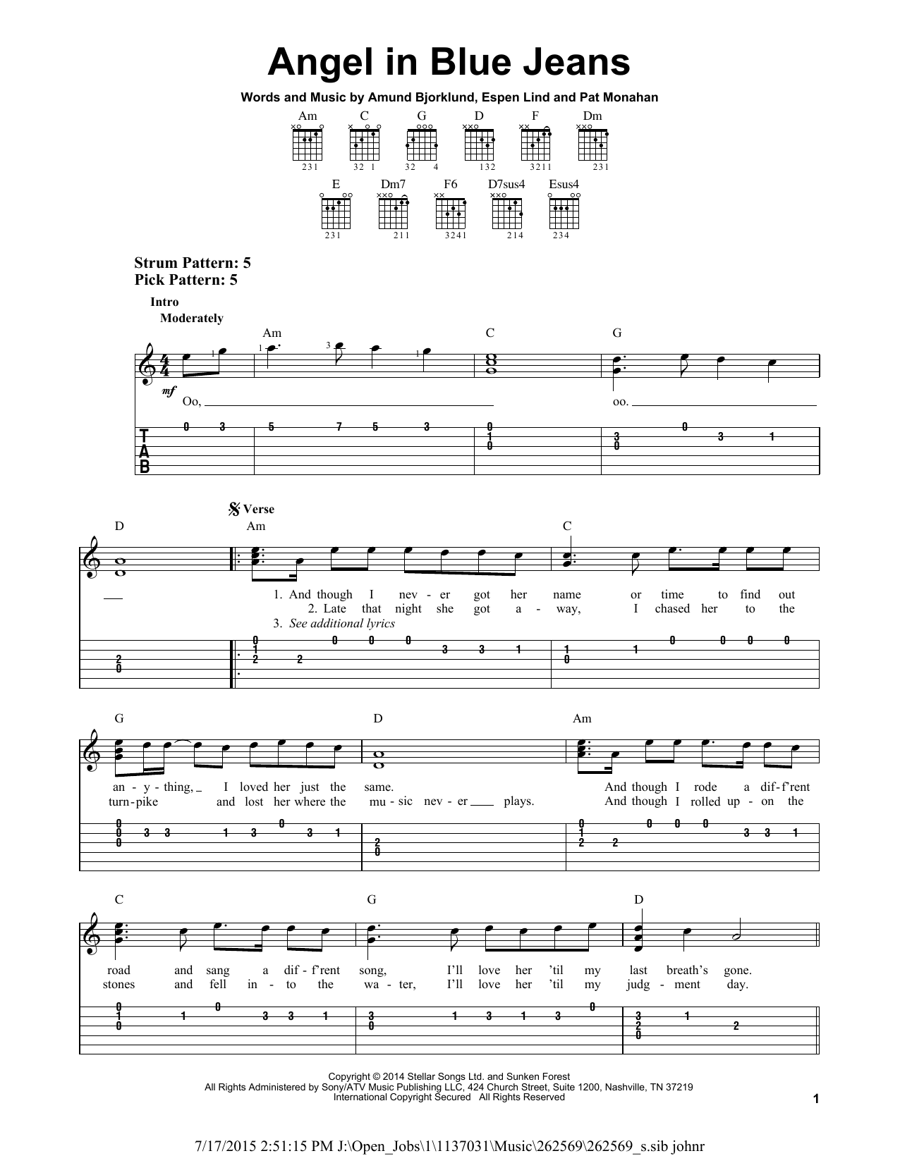 Angel In Blue Jeans By Train Easy Guitar Tab Guitar Instructor