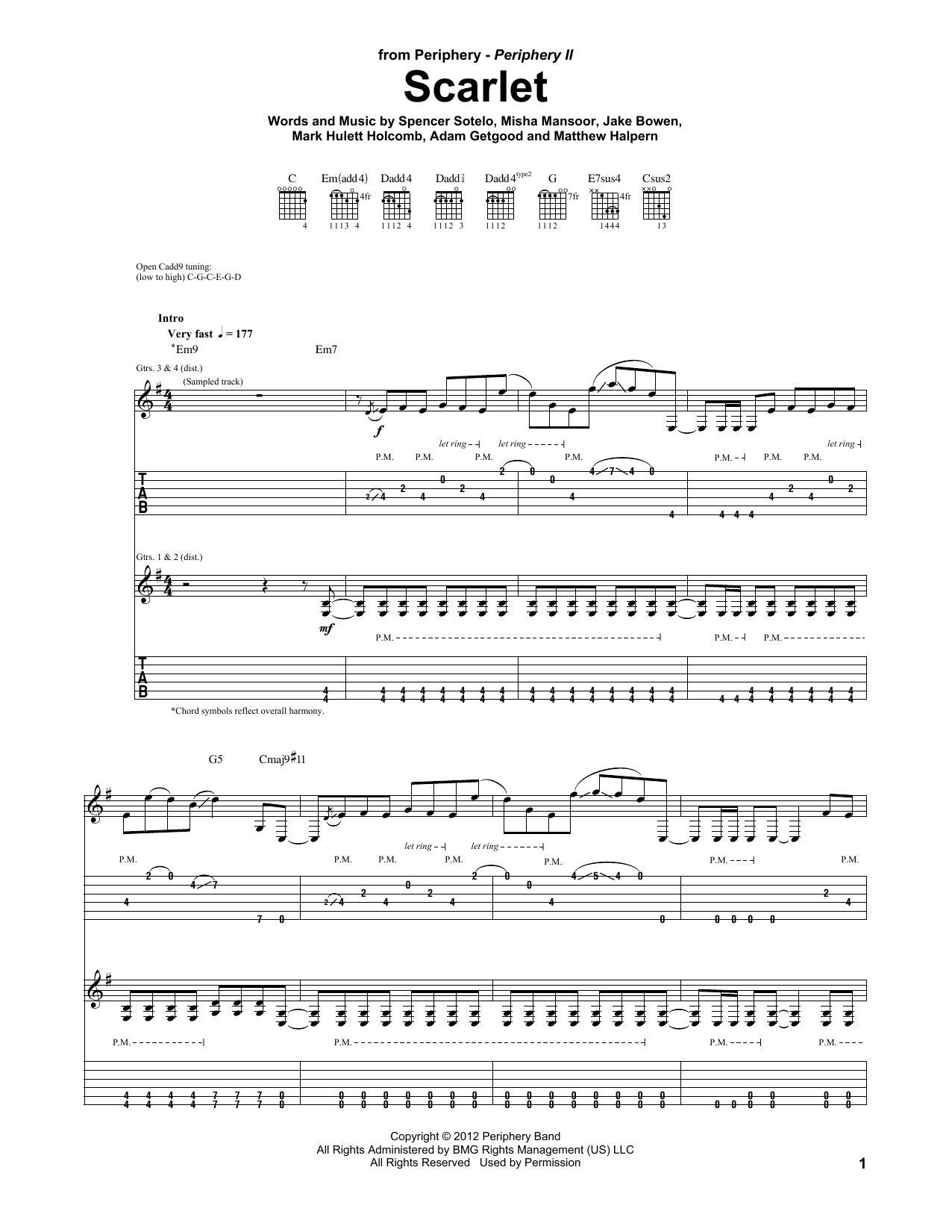 Tablature guitare Scarlet de Periphery - Tablature Guitare