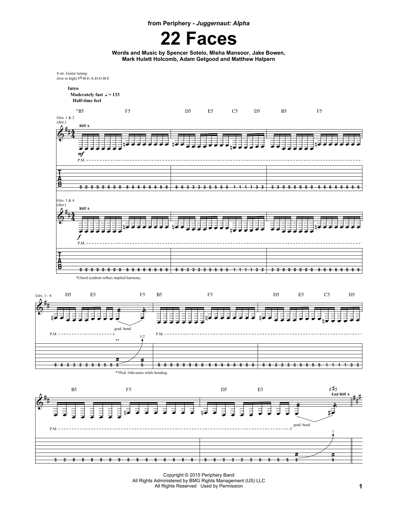22 Faces Sheet Music