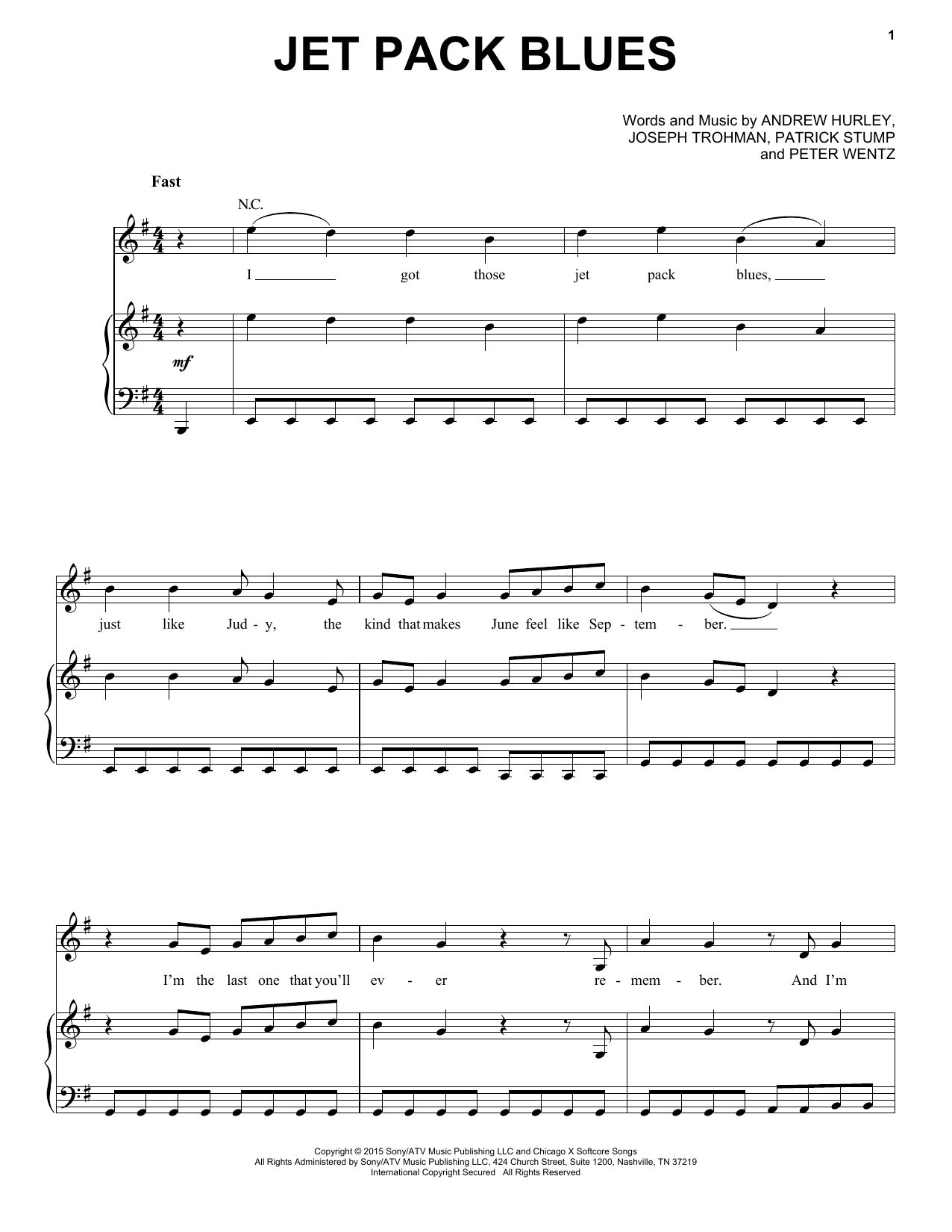 Jet Pack Blues sheet music by Fall Out Boy (Piano, Vocal u0026 Guitar (Right-Hand Melody) u2013 160910)