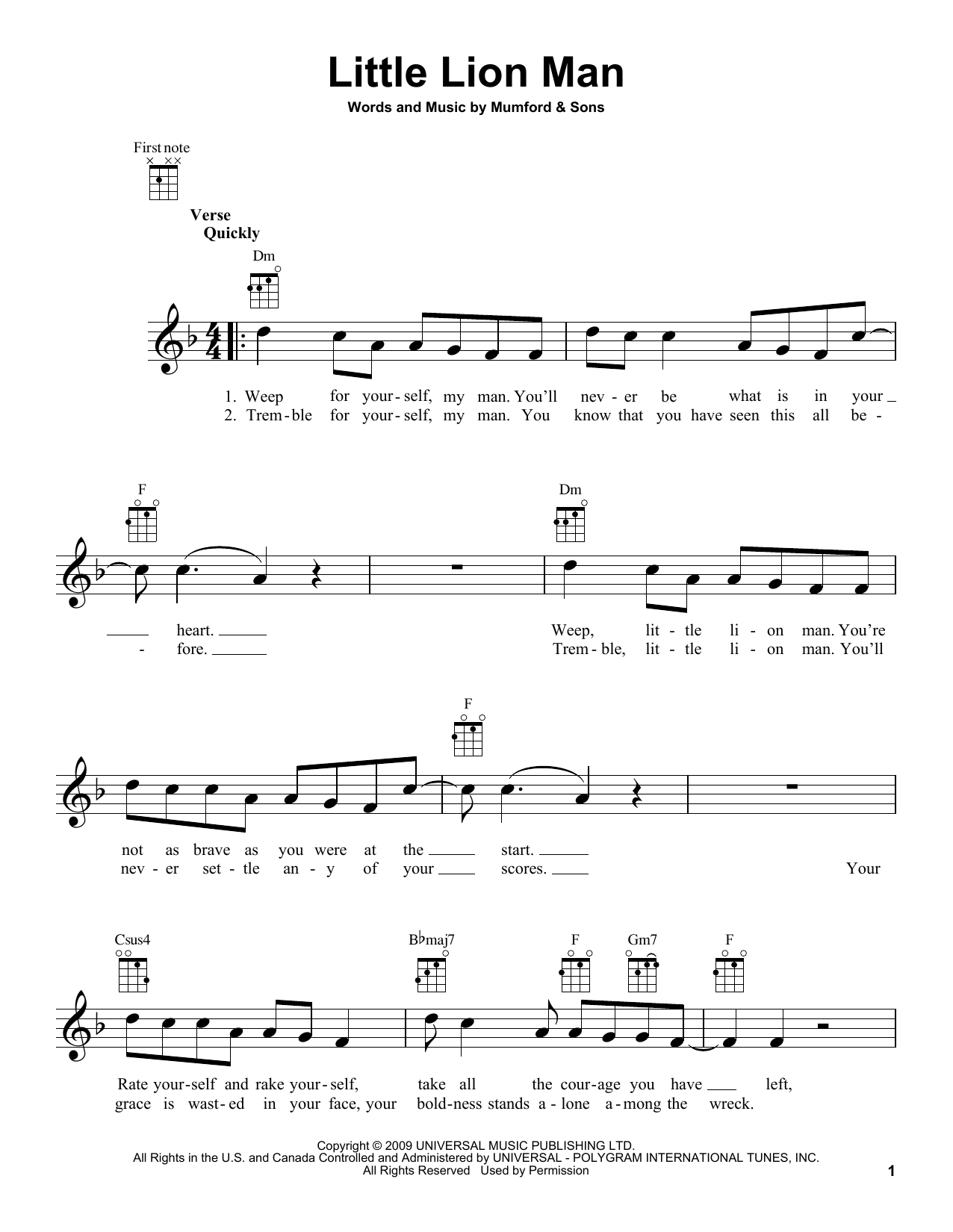 Tablature guitare Little Lion Man de Mumford & Sons - Ukulele