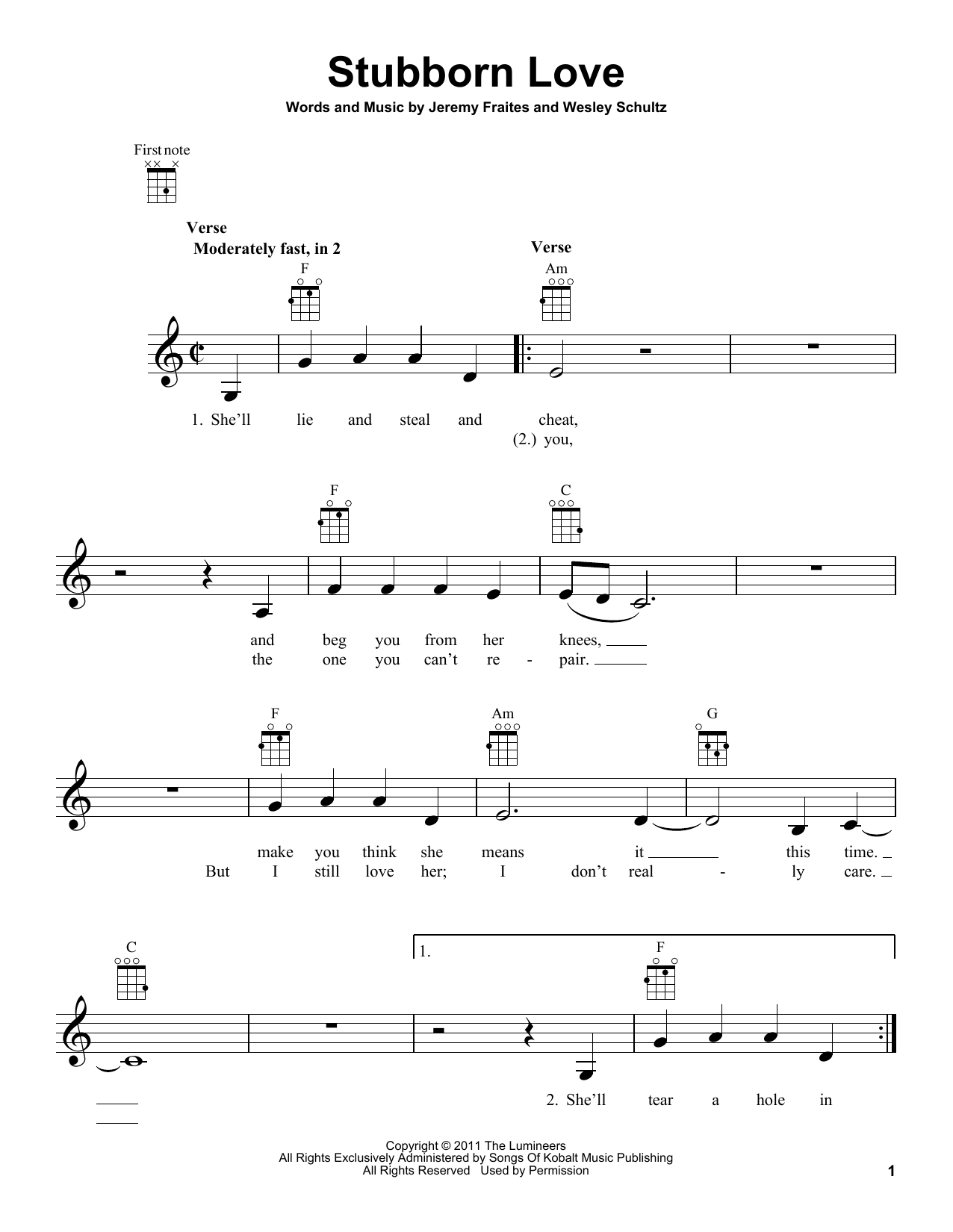 Tablature guitare Stubborn Love de The Lumineers - Ukulele