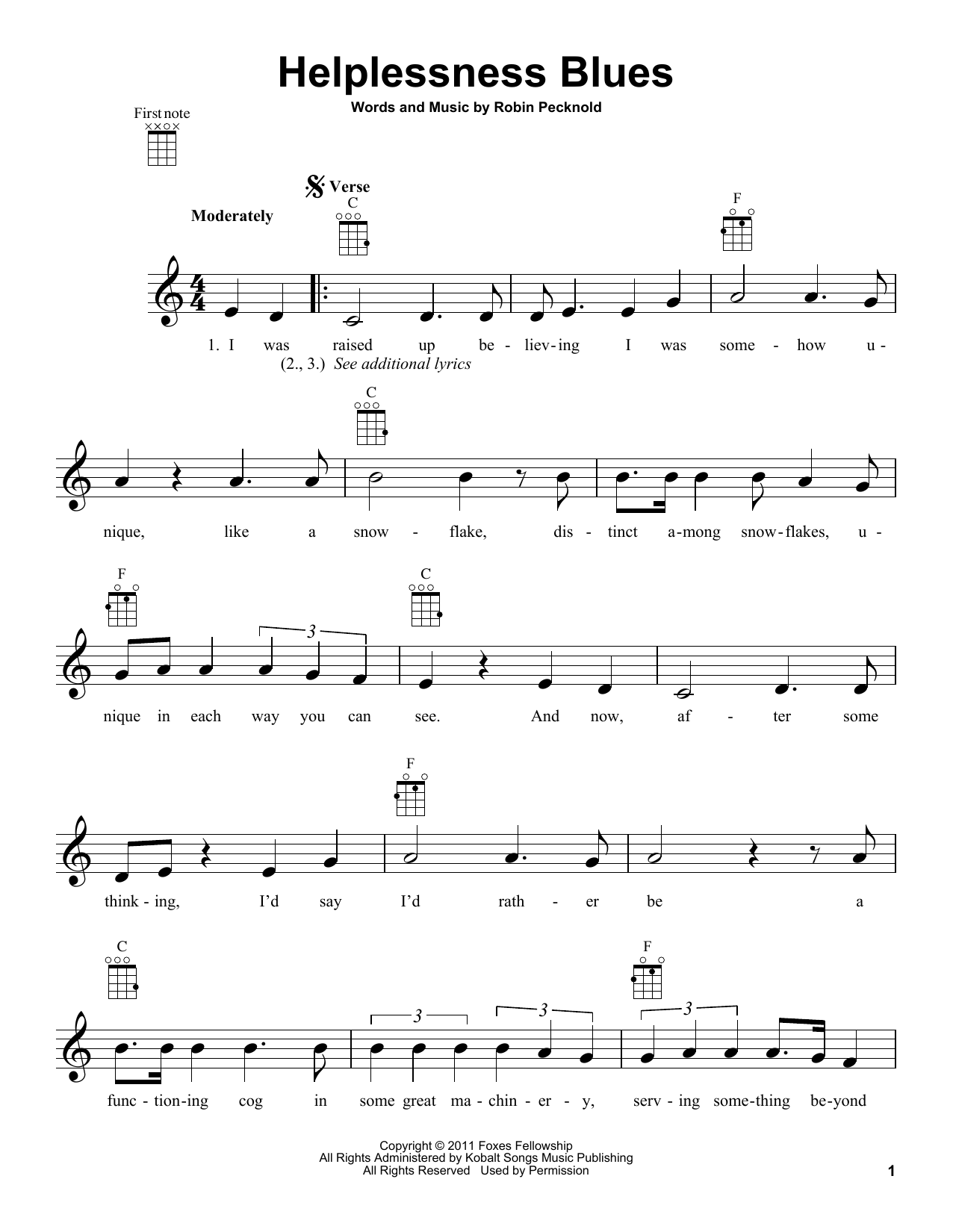 Tablature guitare Helplessness Blues de Fleet Foxes - Ukulele