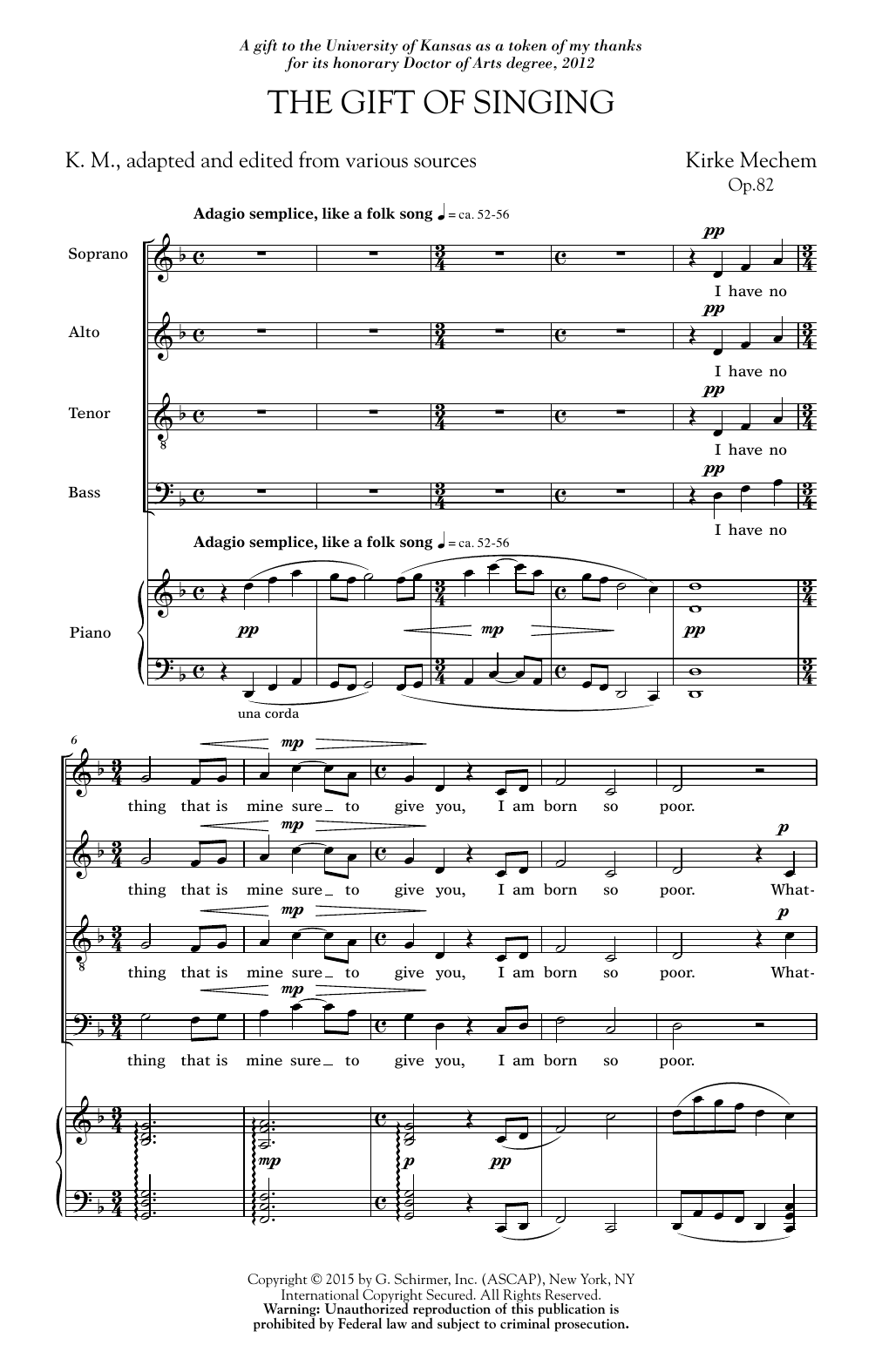 Gift Of Singing Sheet Music