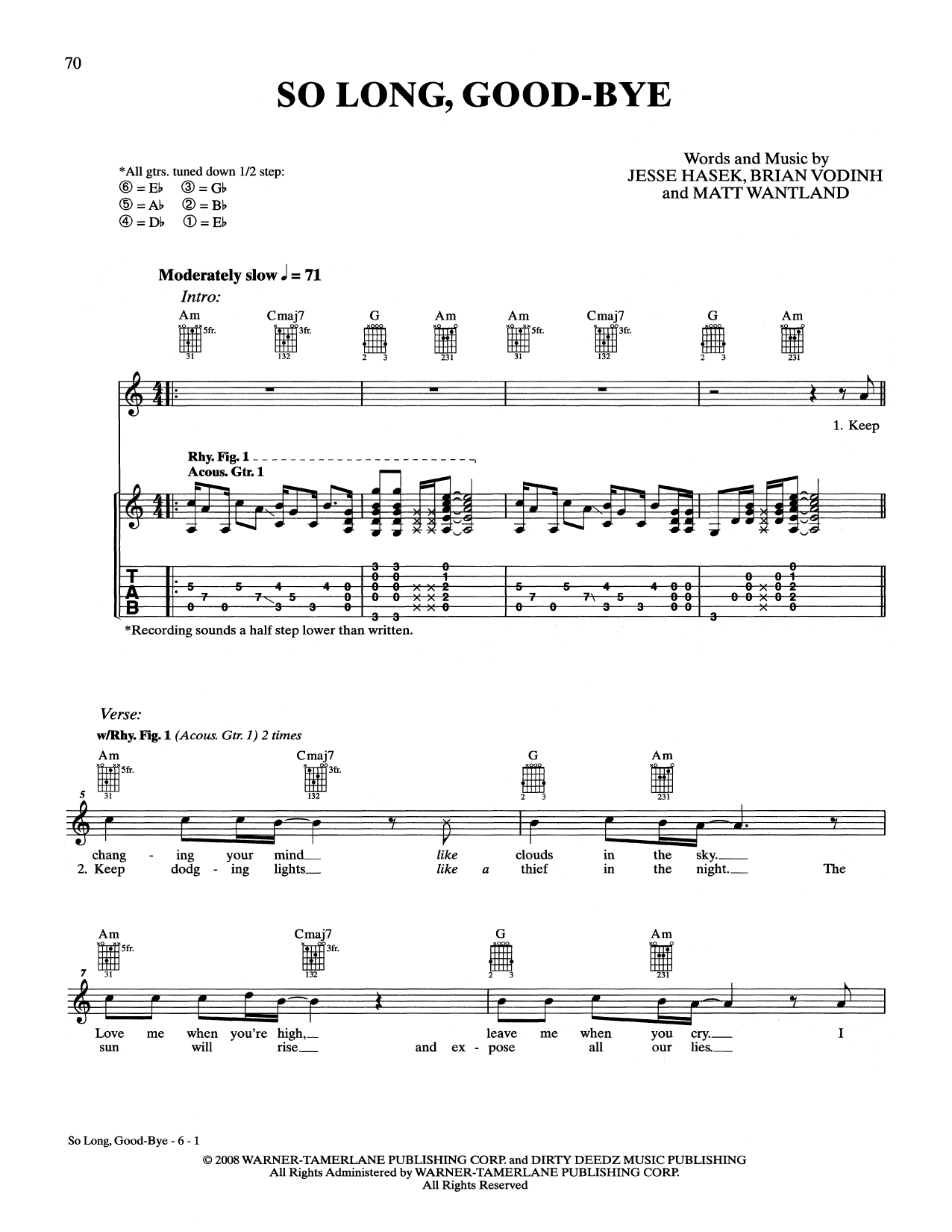 So long good bye guitar tab by 10 years guitar tab 161057 10 years so long good bye guitar tab hexwebz Images